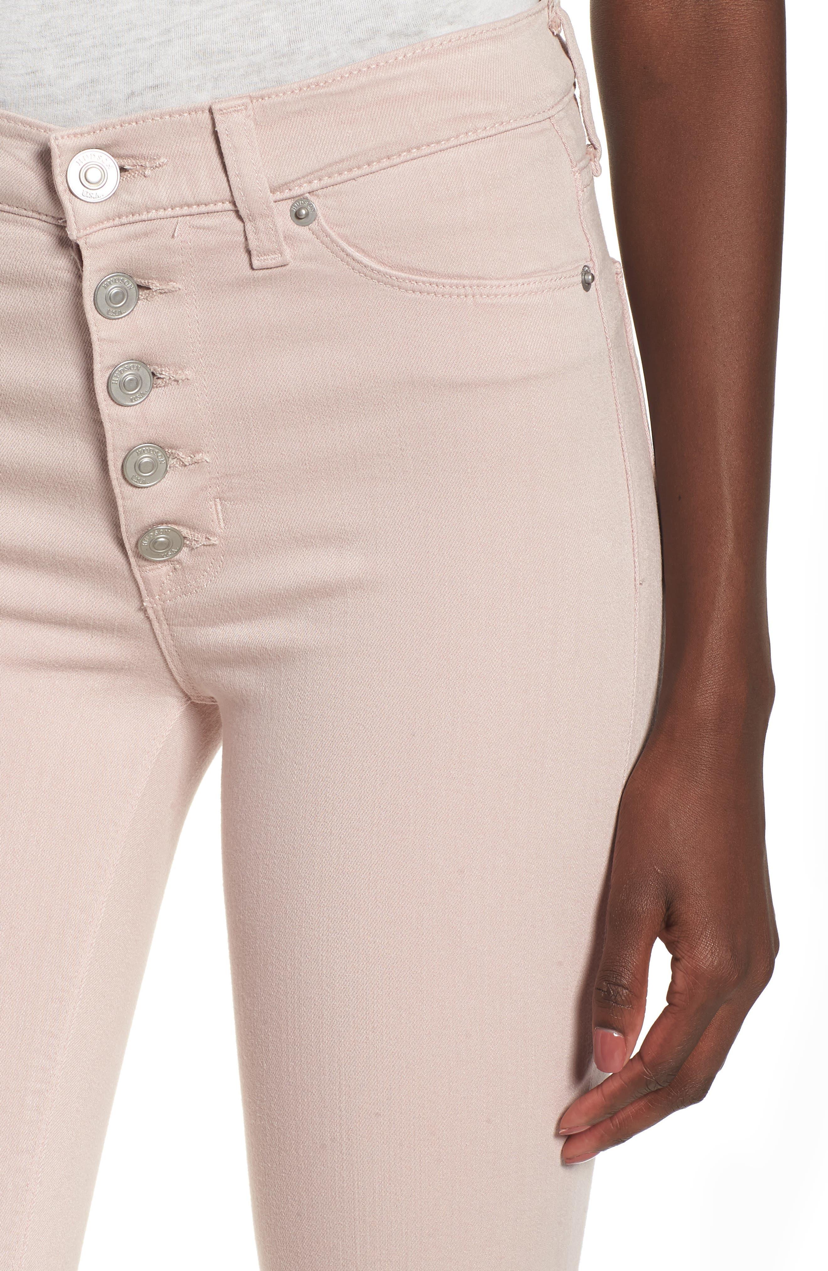 Barbara High Waist Raw Hem Ankle Skinny Jeans,                             Alternate thumbnail 4, color,                             Blushing
