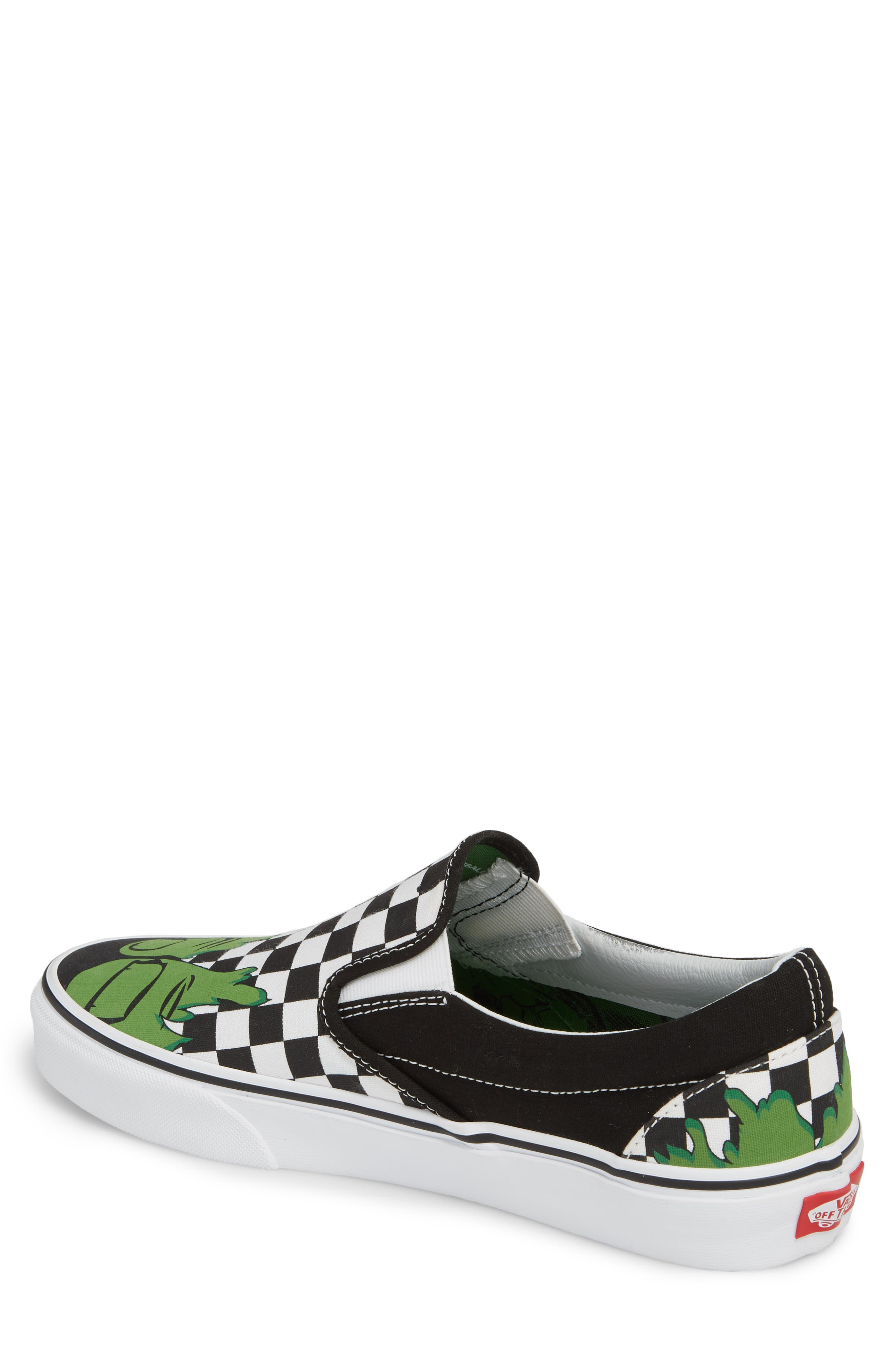 Marvel UA Classic Slip-On Sneaker,                             Alternate thumbnail 2, color,                             Checkerboard Textile