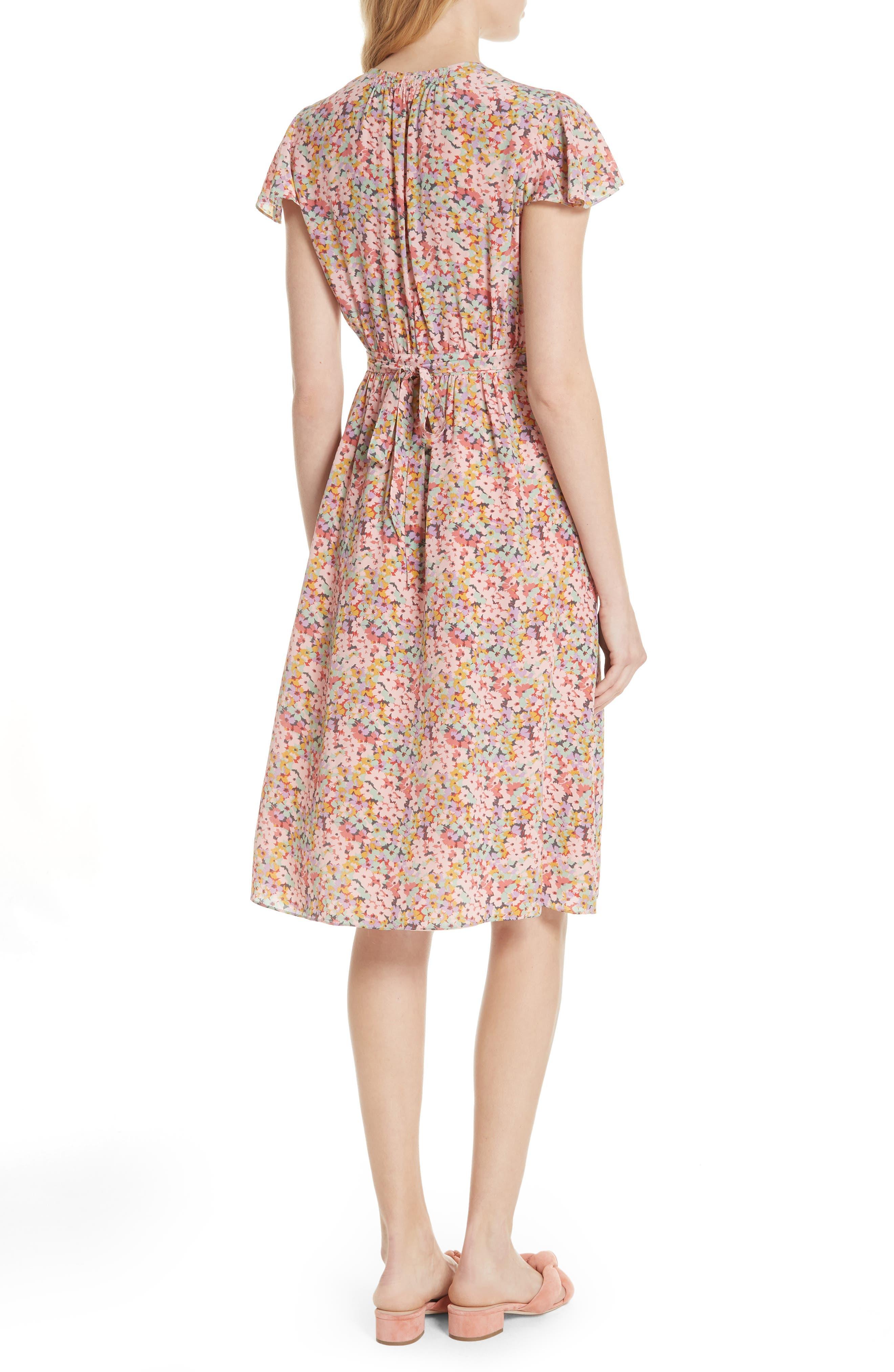 Margo Faux Wrap Silk Dress,                             Alternate thumbnail 2, color,                             Multi