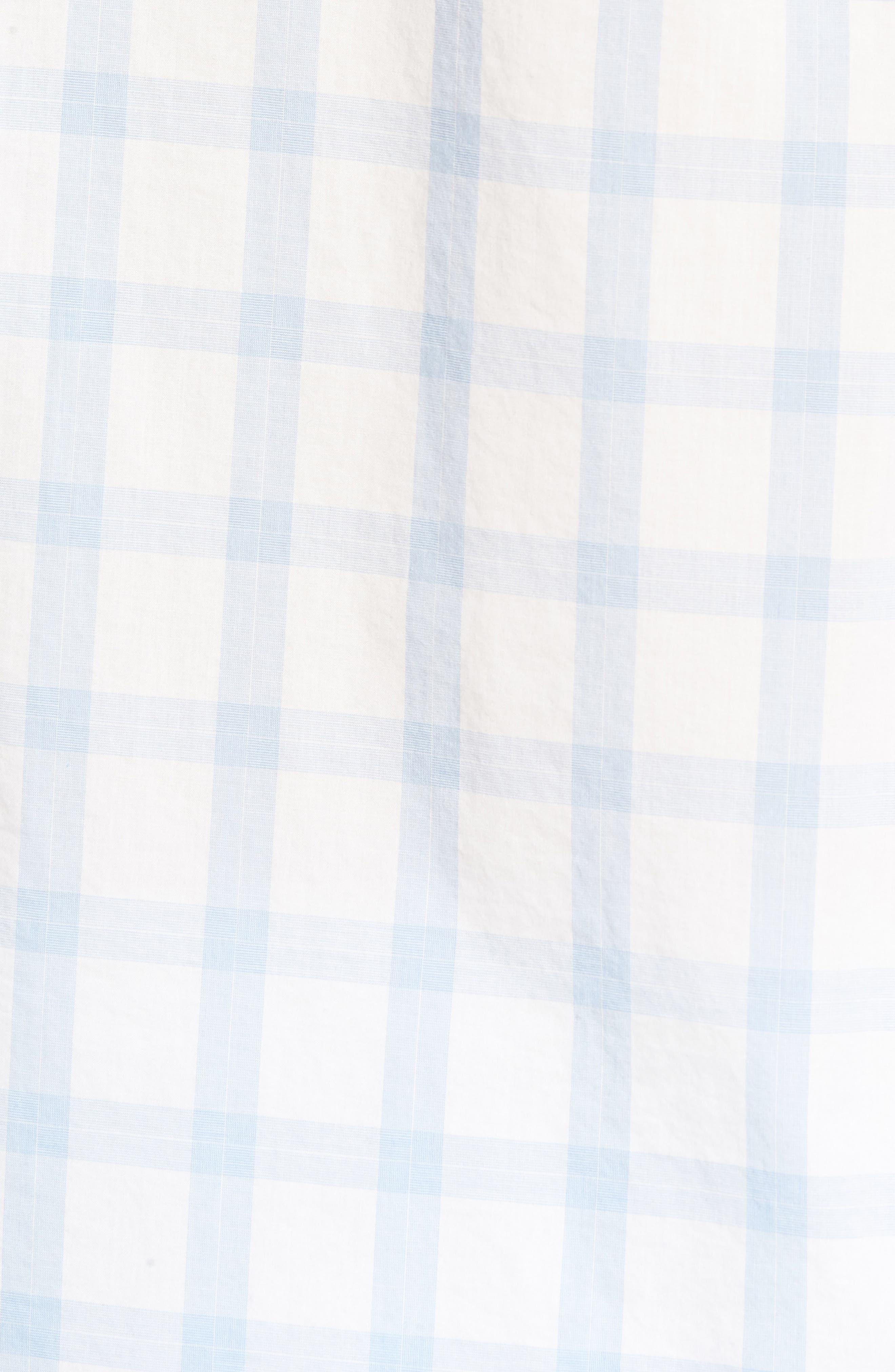 Slim Fit Summerweight Sport Shirt,                             Alternate thumbnail 5, color,                             Sea Mist Check - Della Blue