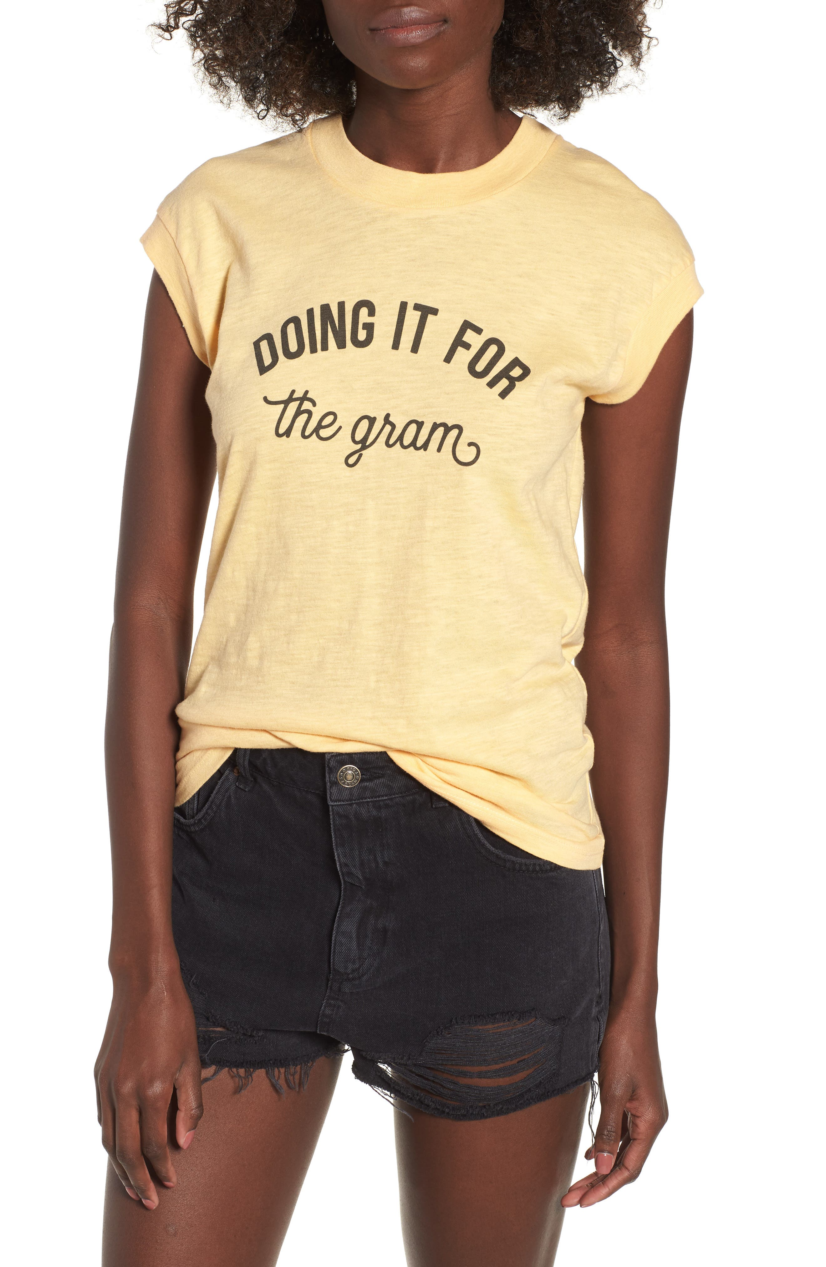 Doing It For the Gram Graphic Tee,                         Main,                         color, Honey