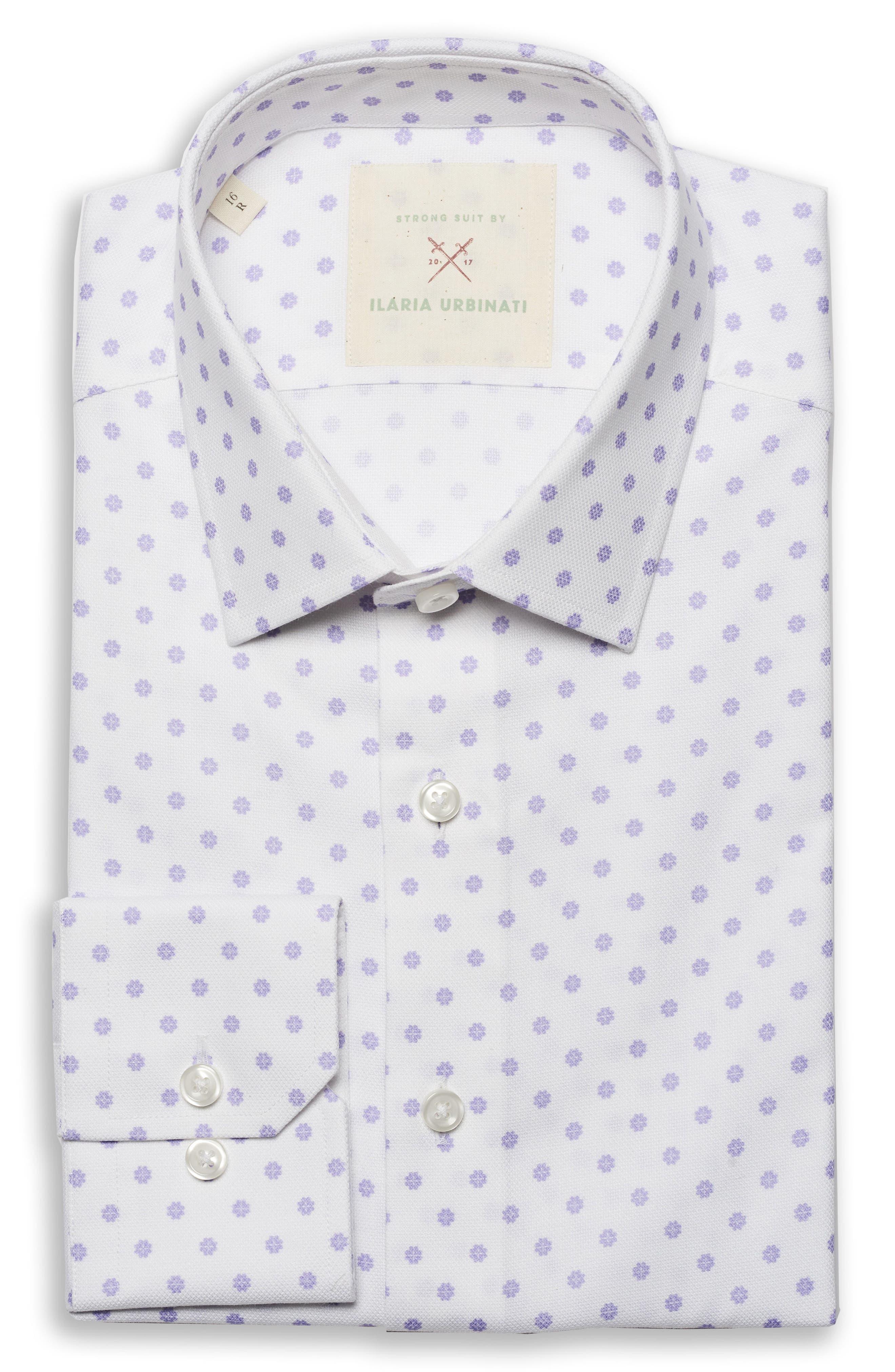 by Ilaria Urbinati Edmond Slim Fit Medallion Dress Shirt,                         Main,                         color, Lilac Deco