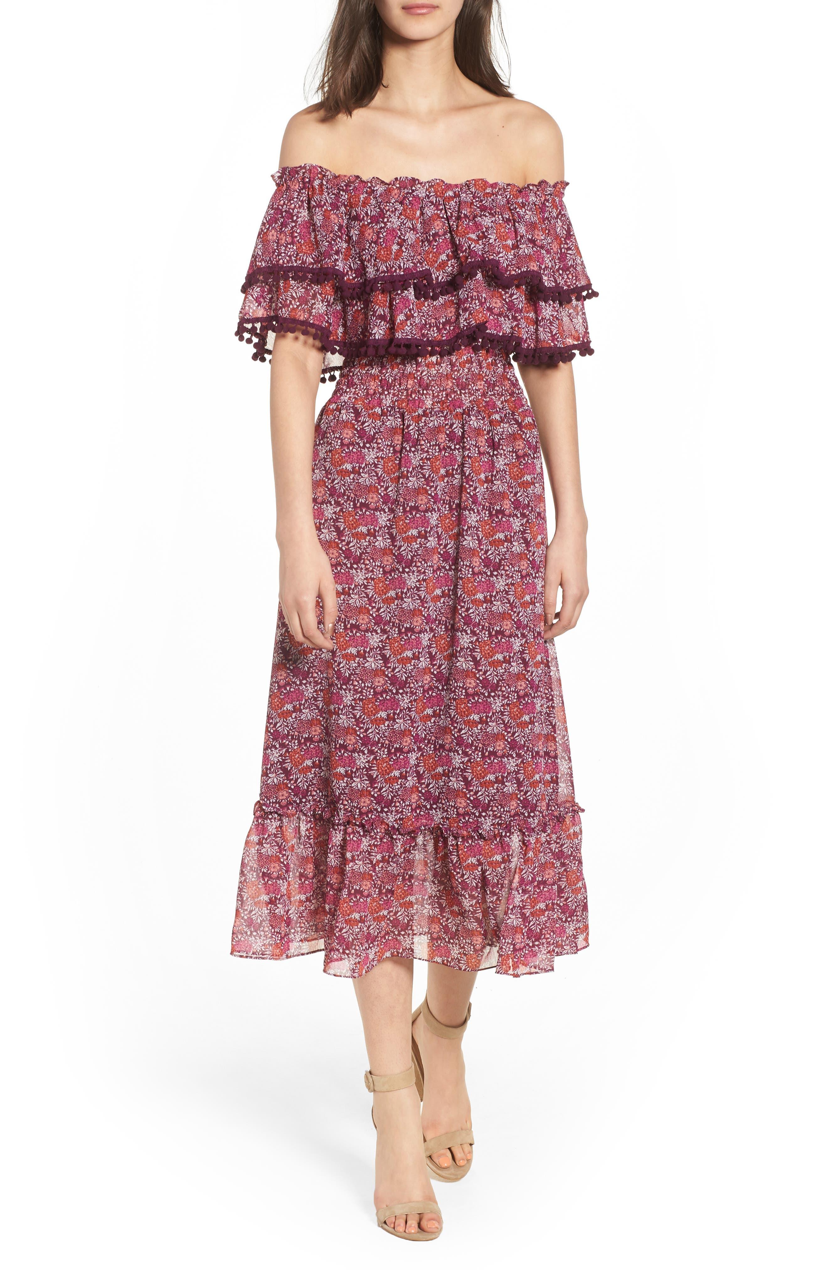 Maribel Off the Shoulder Midi Dress,                         Main,                         color, Multi Fe4