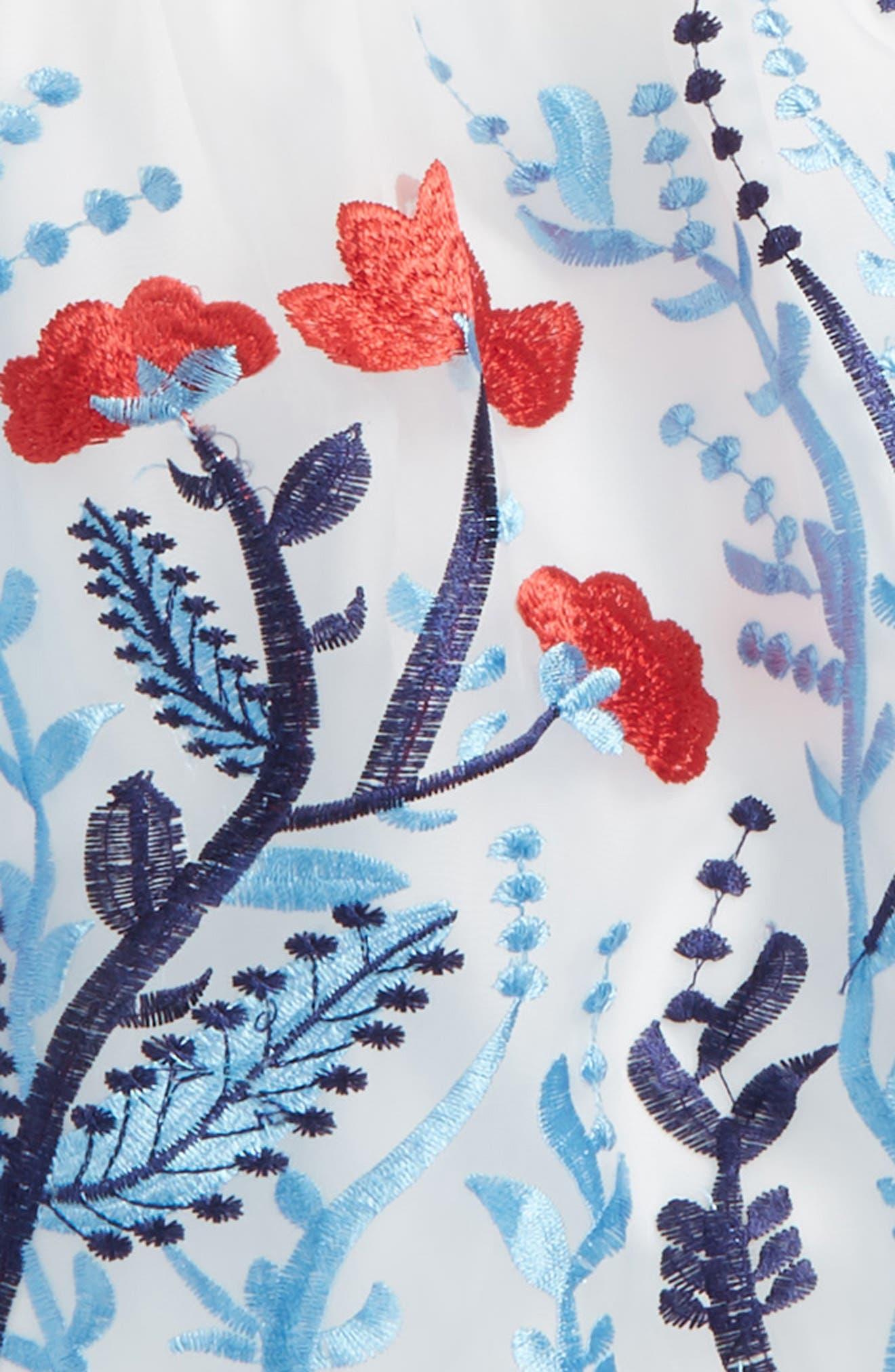 Embroidered Flower Dress,                             Alternate thumbnail 2, color,                             White Multi