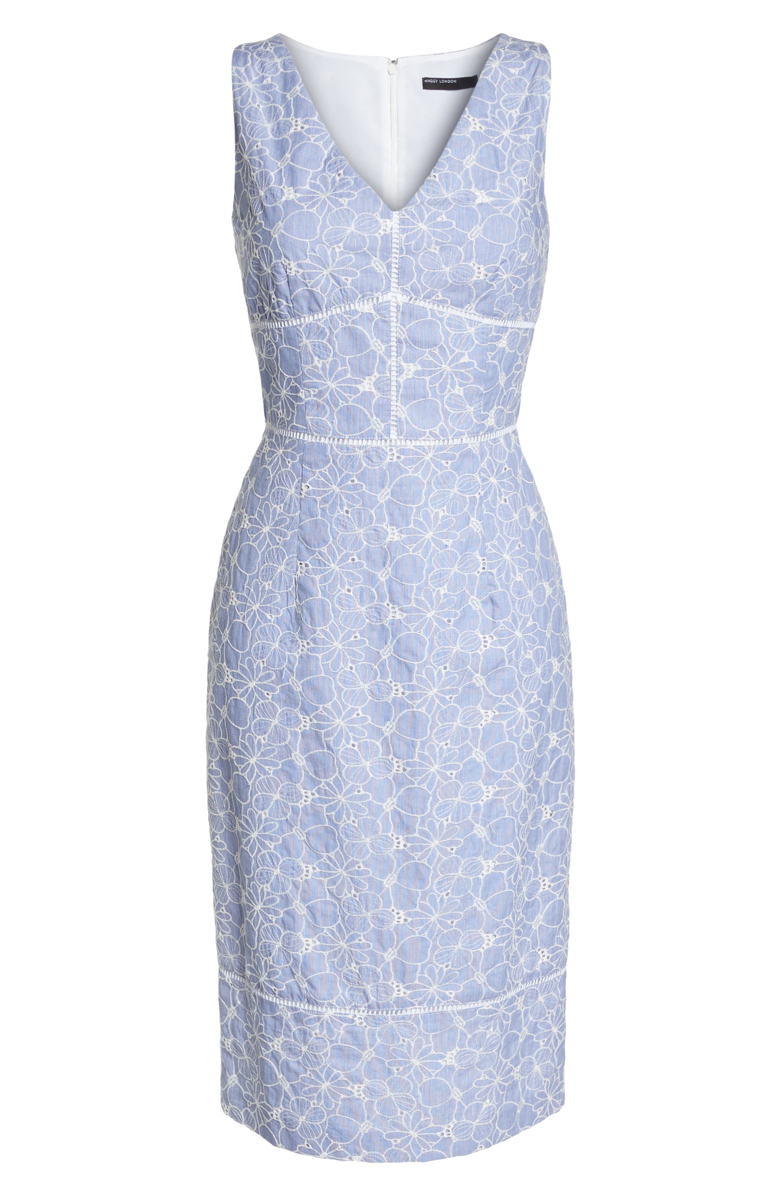 Sleeveless Embroidered Sheath Dress,                             Alternate thumbnail 7, color,                             Blue/ White