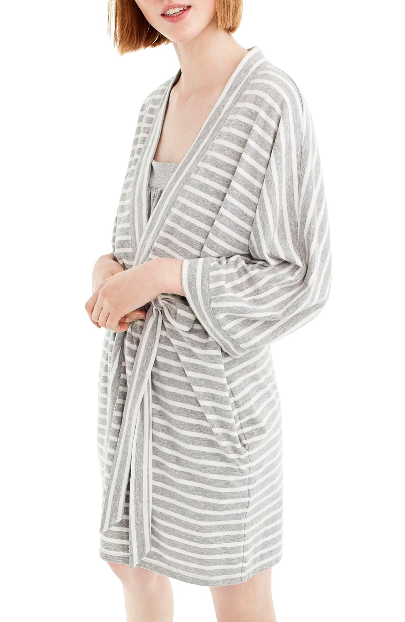 Stripe Stretch Cotton Robe,                             Main thumbnail 1, color,                             Hthr Gray Ivory