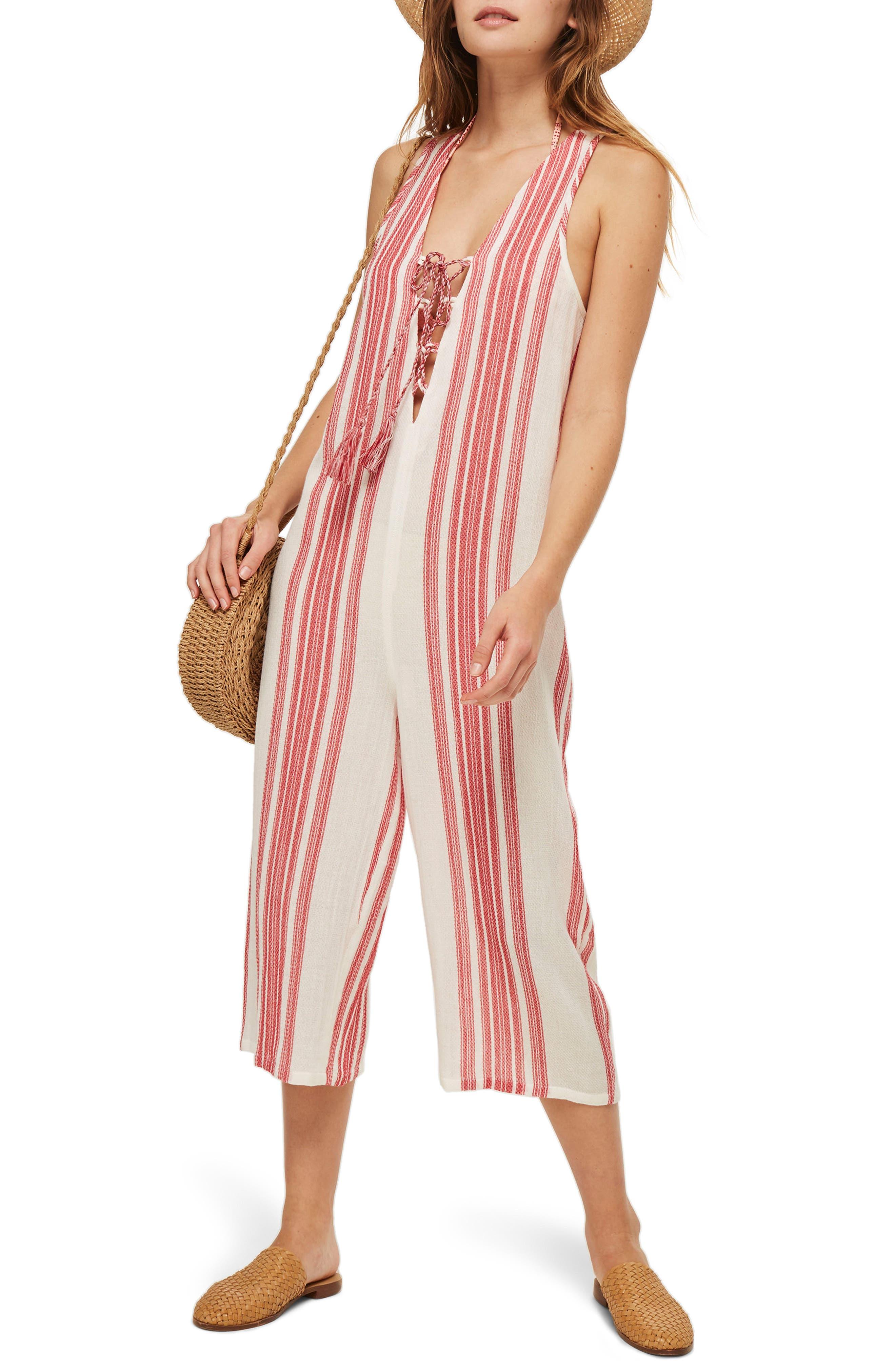 Stripe Jacquard Jumpsuit,                         Main,                         color, Red Multi