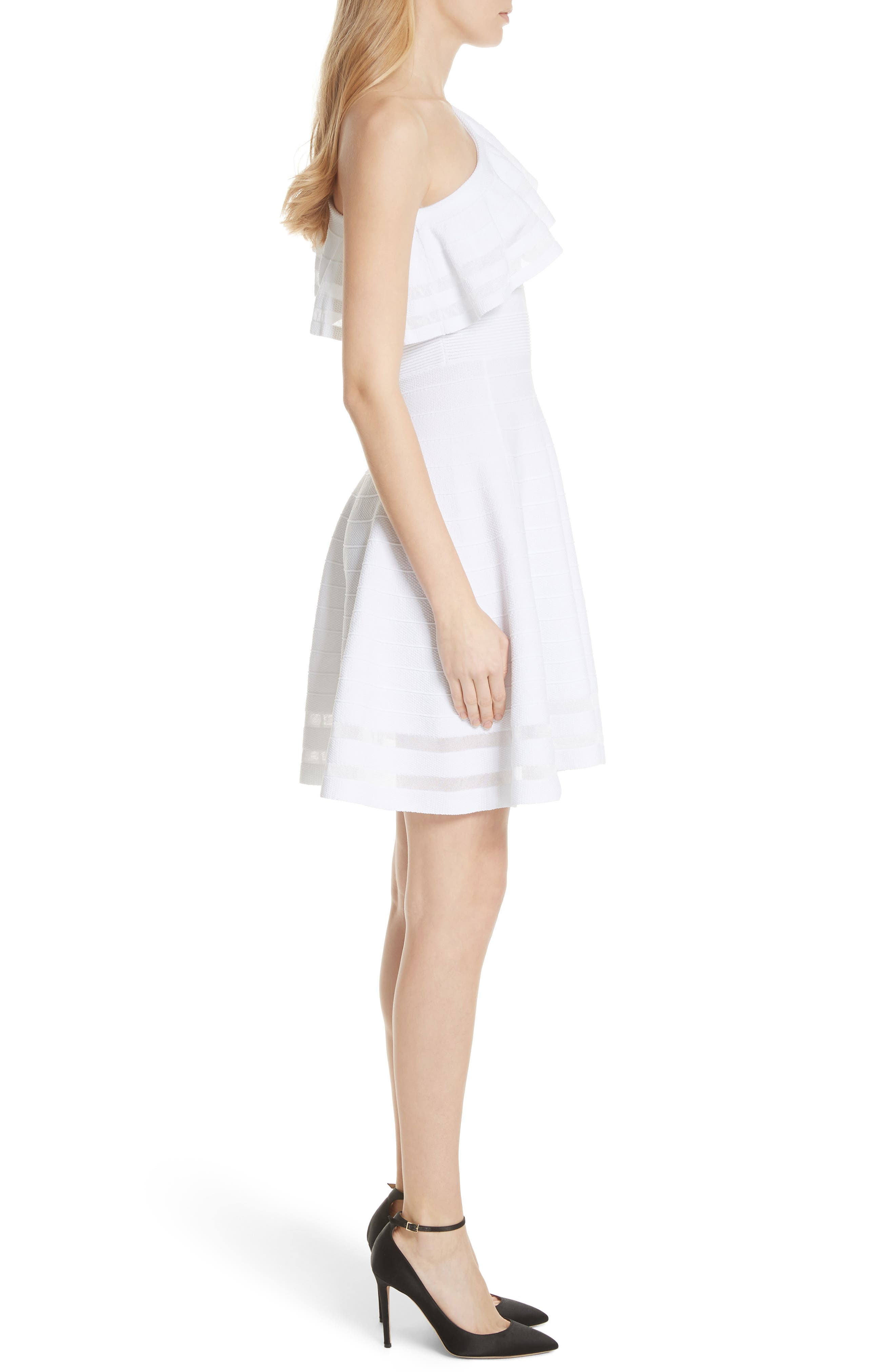 Streena Knit Skater Dress,                             Alternate thumbnail 3, color,                             White