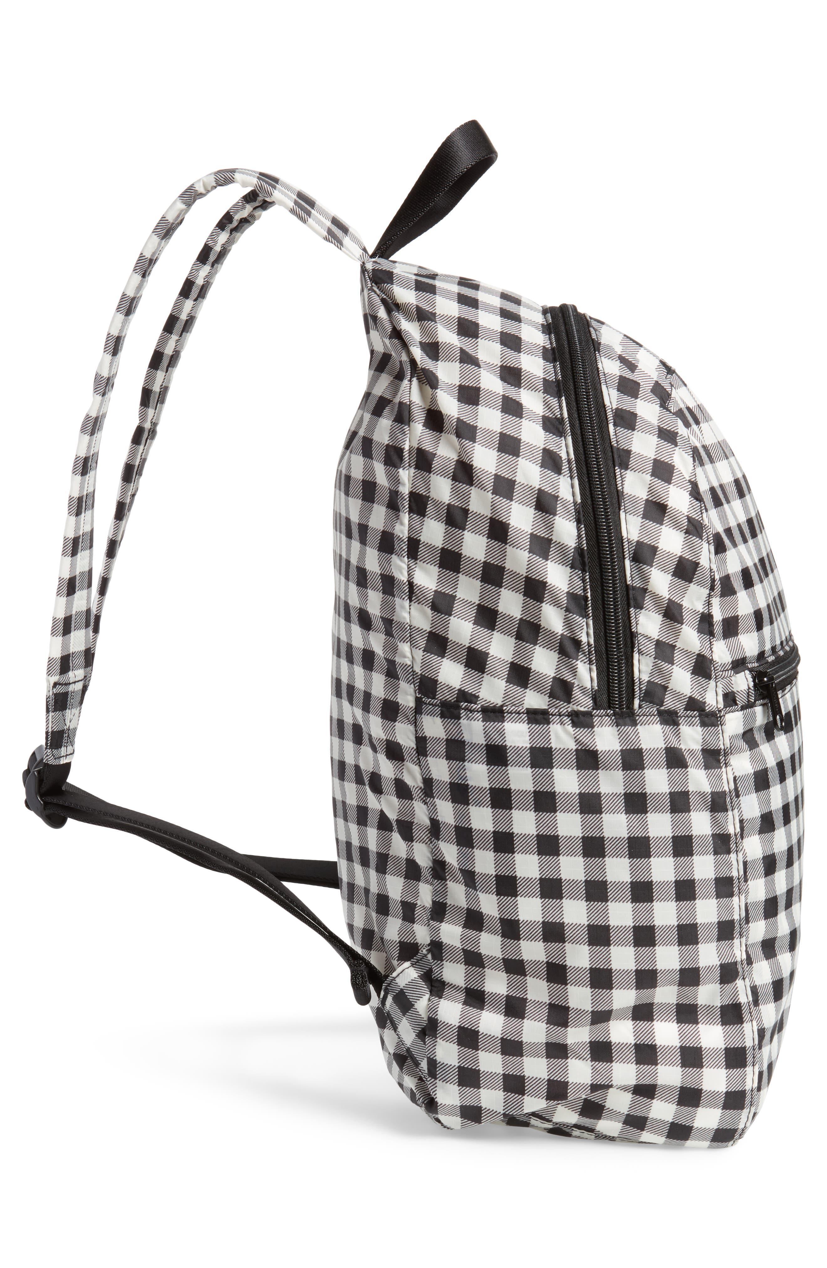 Ripstop Nylon Backpack,                             Alternate thumbnail 5, color,                             Black Gingham