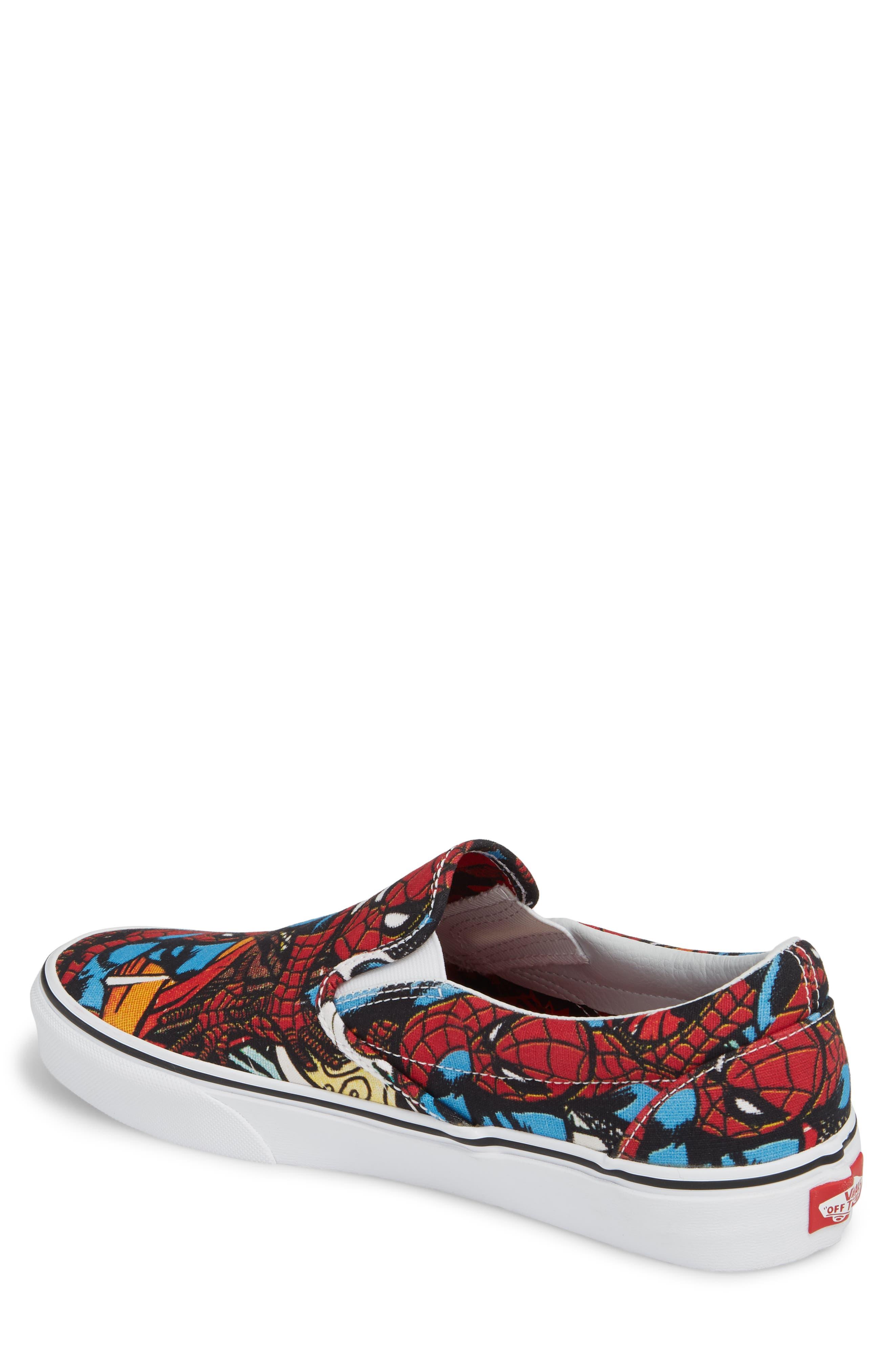 Marvel UA Classic Slip-On Sneaker,                             Alternate thumbnail 2, color,                             Black/ Red Textile