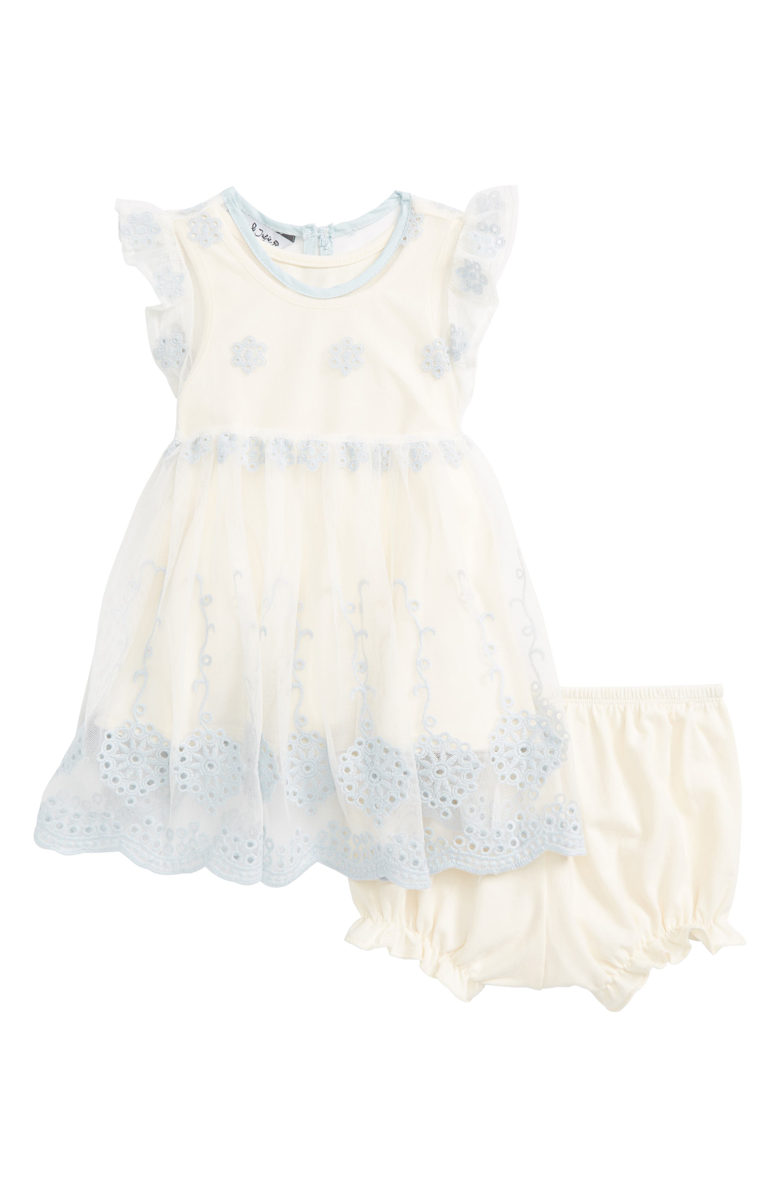 Embroidered Party Dress,                         Main,                         color, Ivory/ Blue
