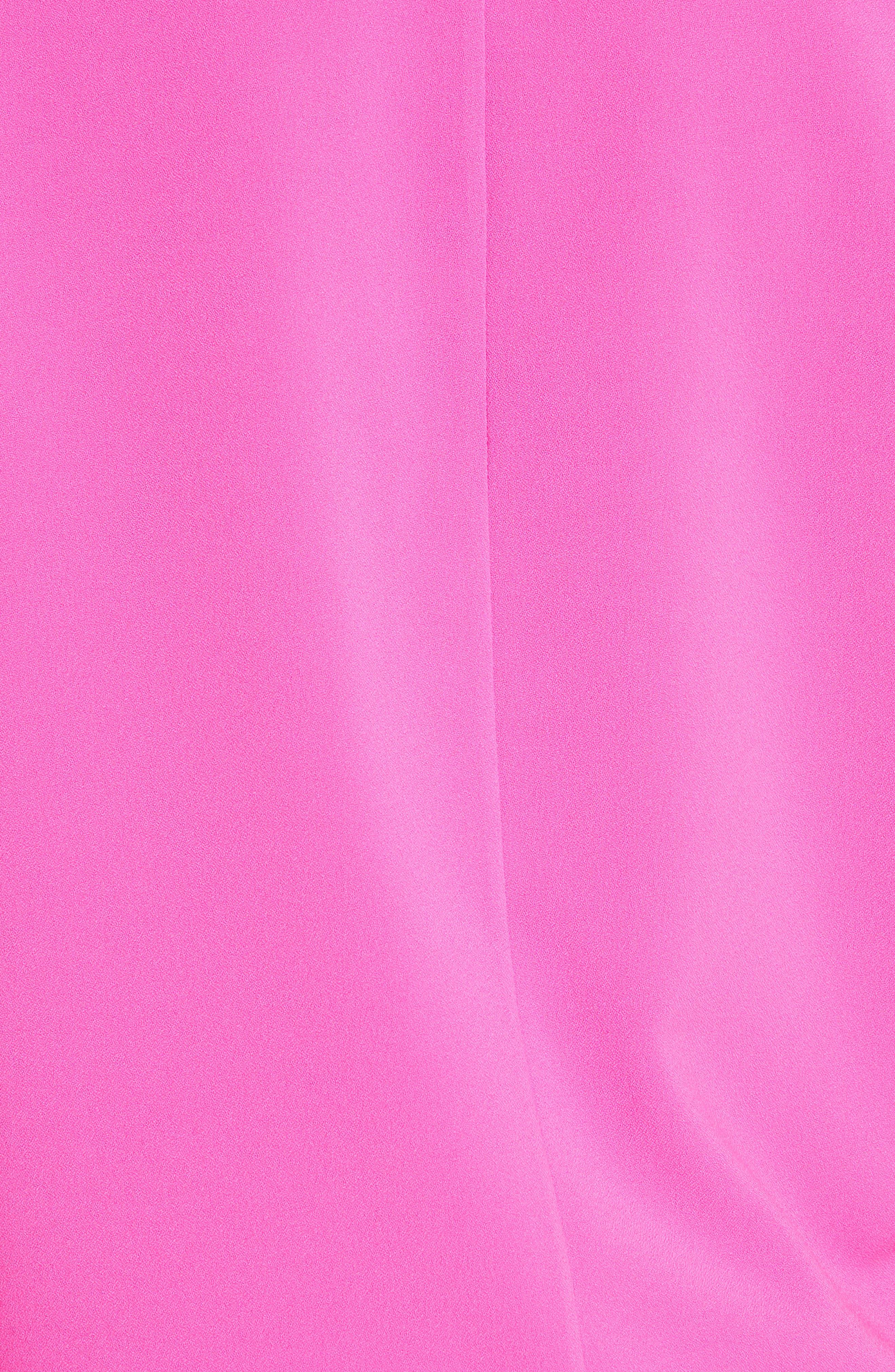 Ammah Embellished Collar Crepe Top,                             Alternate thumbnail 5, color,                             Neon Pink