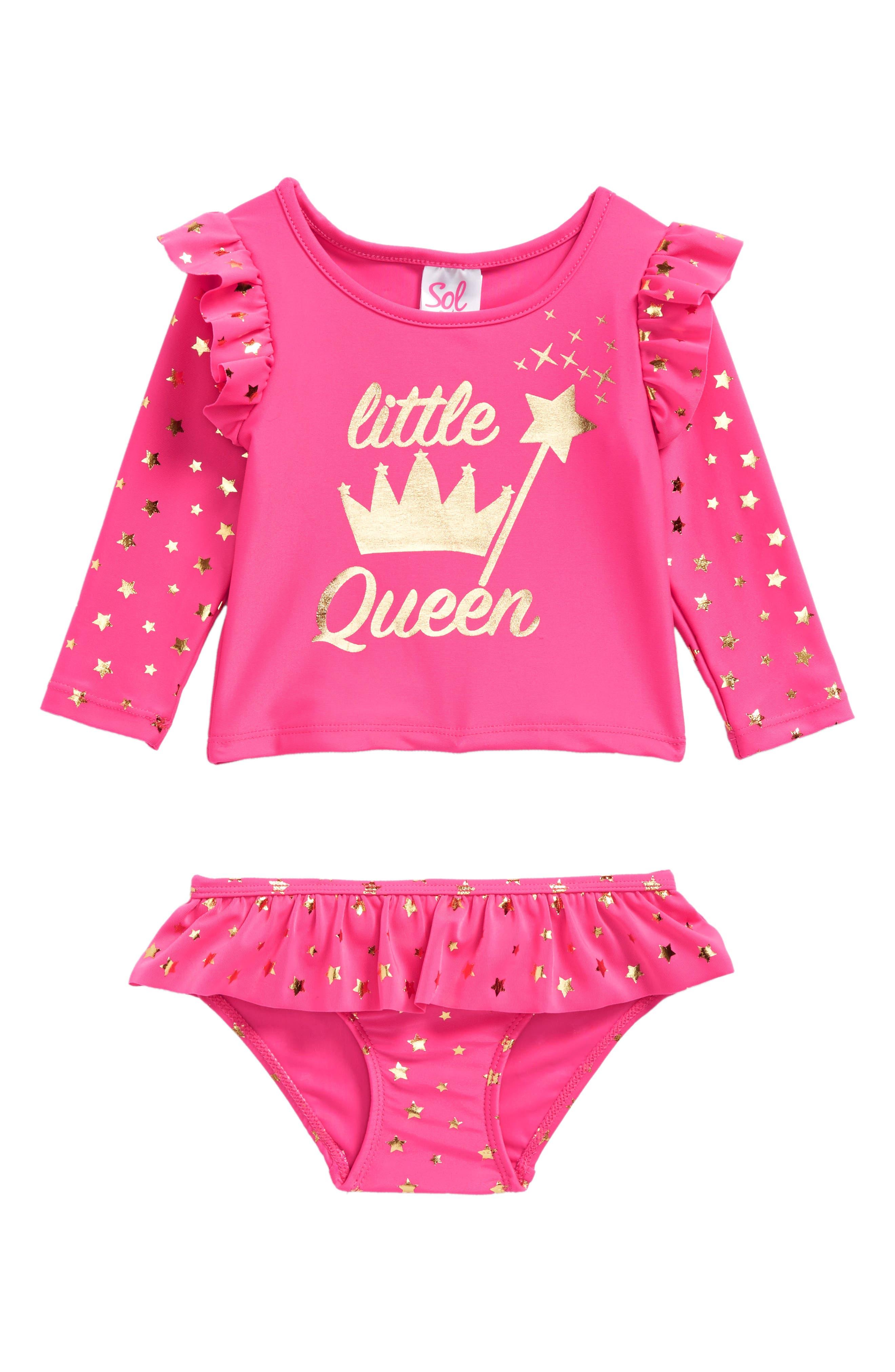 Little Queen Two-Piece Rashguard Swimsuit,                             Main thumbnail 1, color,                             Fuchsia