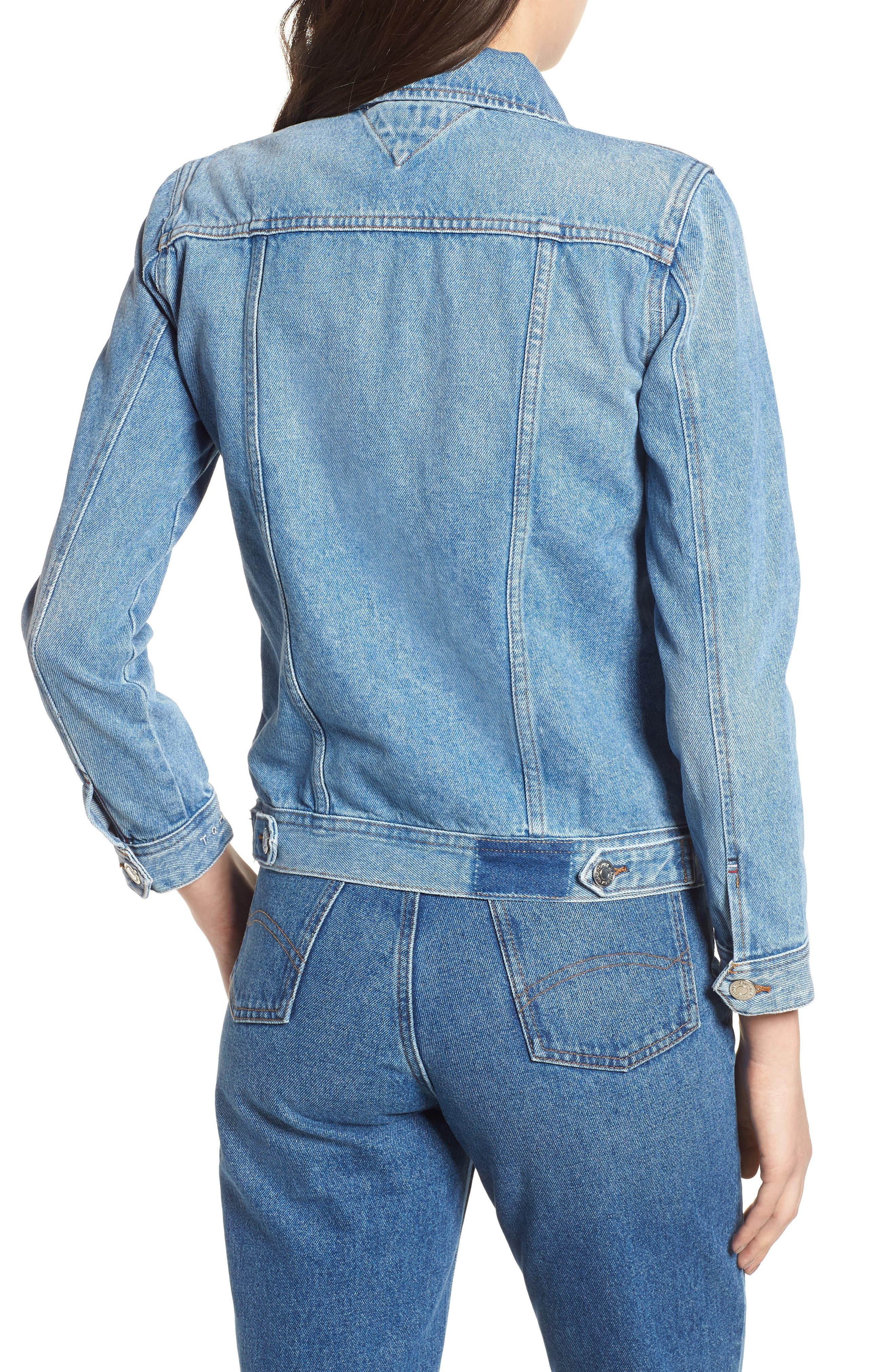 Denim Trucker Jacket,                             Alternate thumbnail 3, color,                             Tommy Jeans Light Blue Rigid