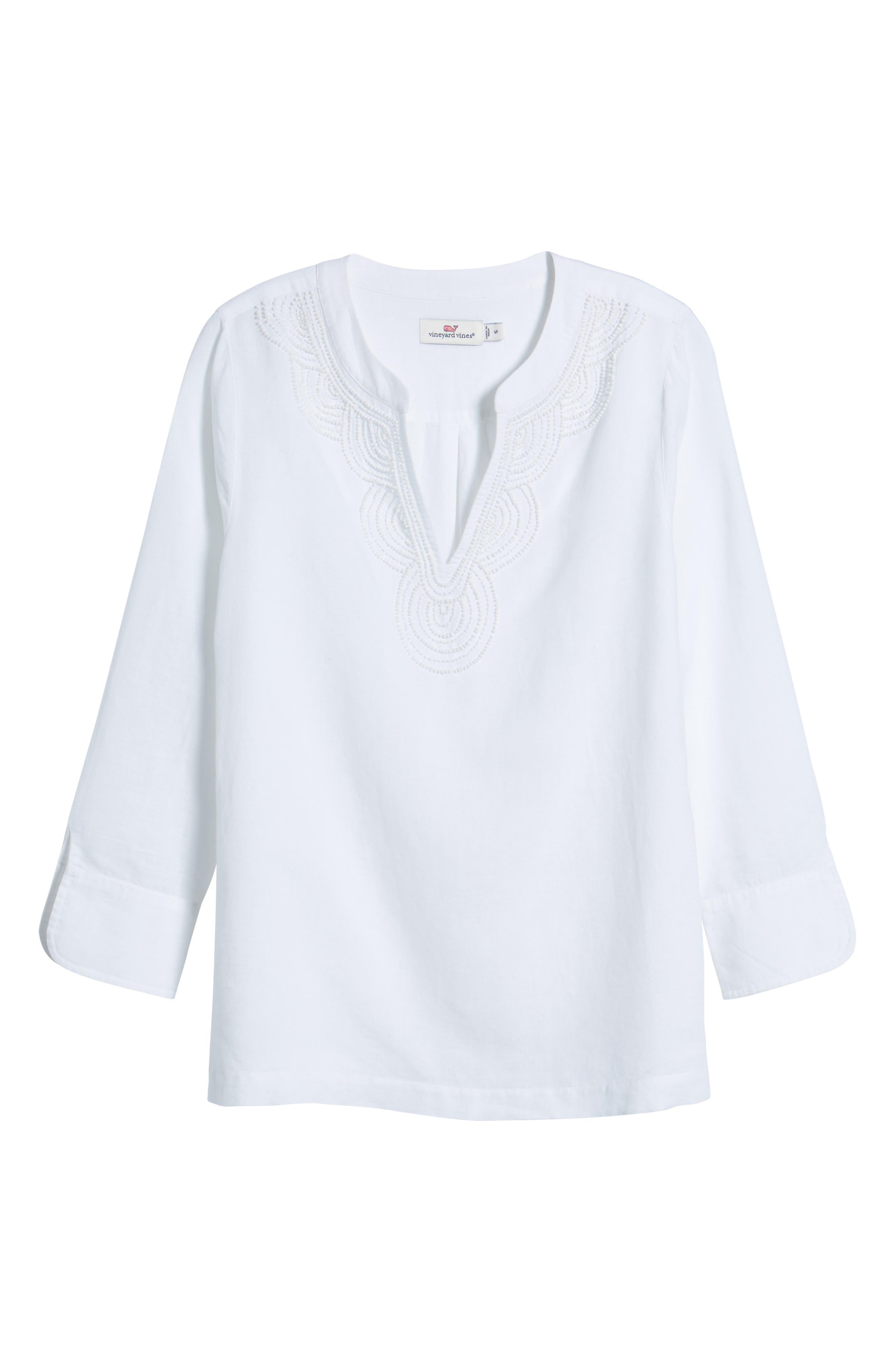 Embellished Tunic Top,                             Alternate thumbnail 7, color,                             White Cap