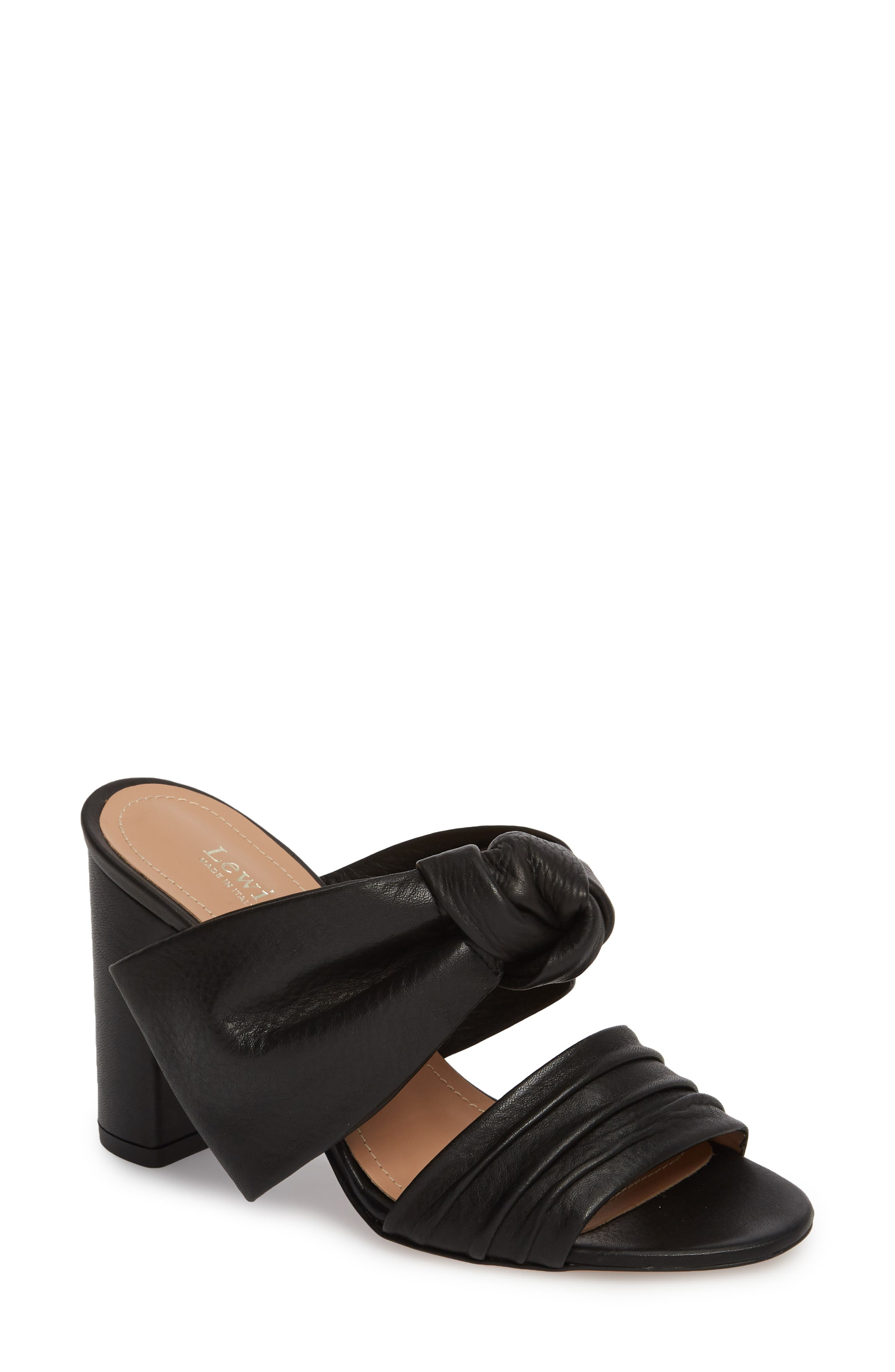 Rosa Knotted Bow Mule,                         Main,                         color, Black Leather