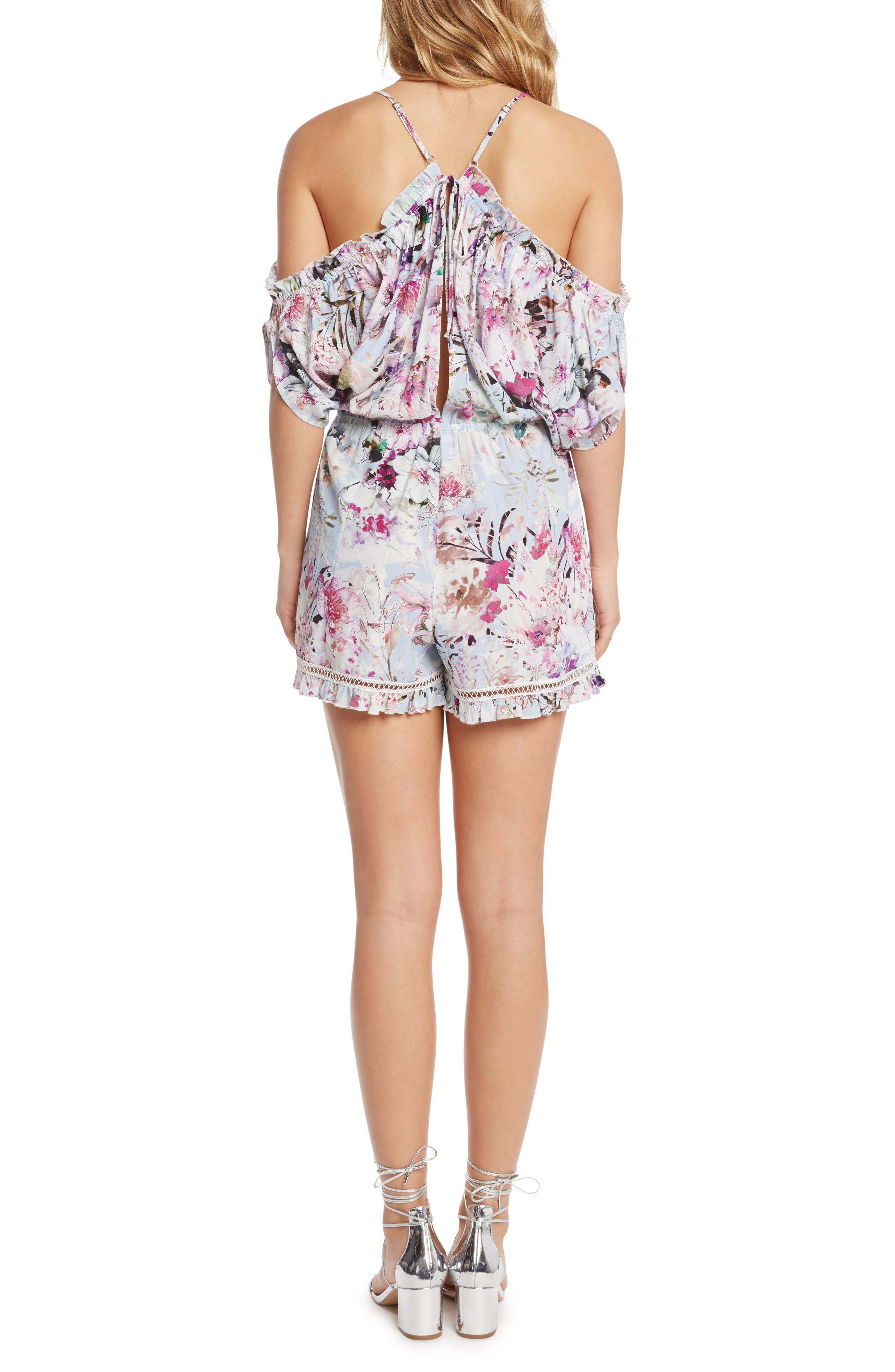Alternate Image 2  - Willow & Clay Print Cold Shoulder Romper