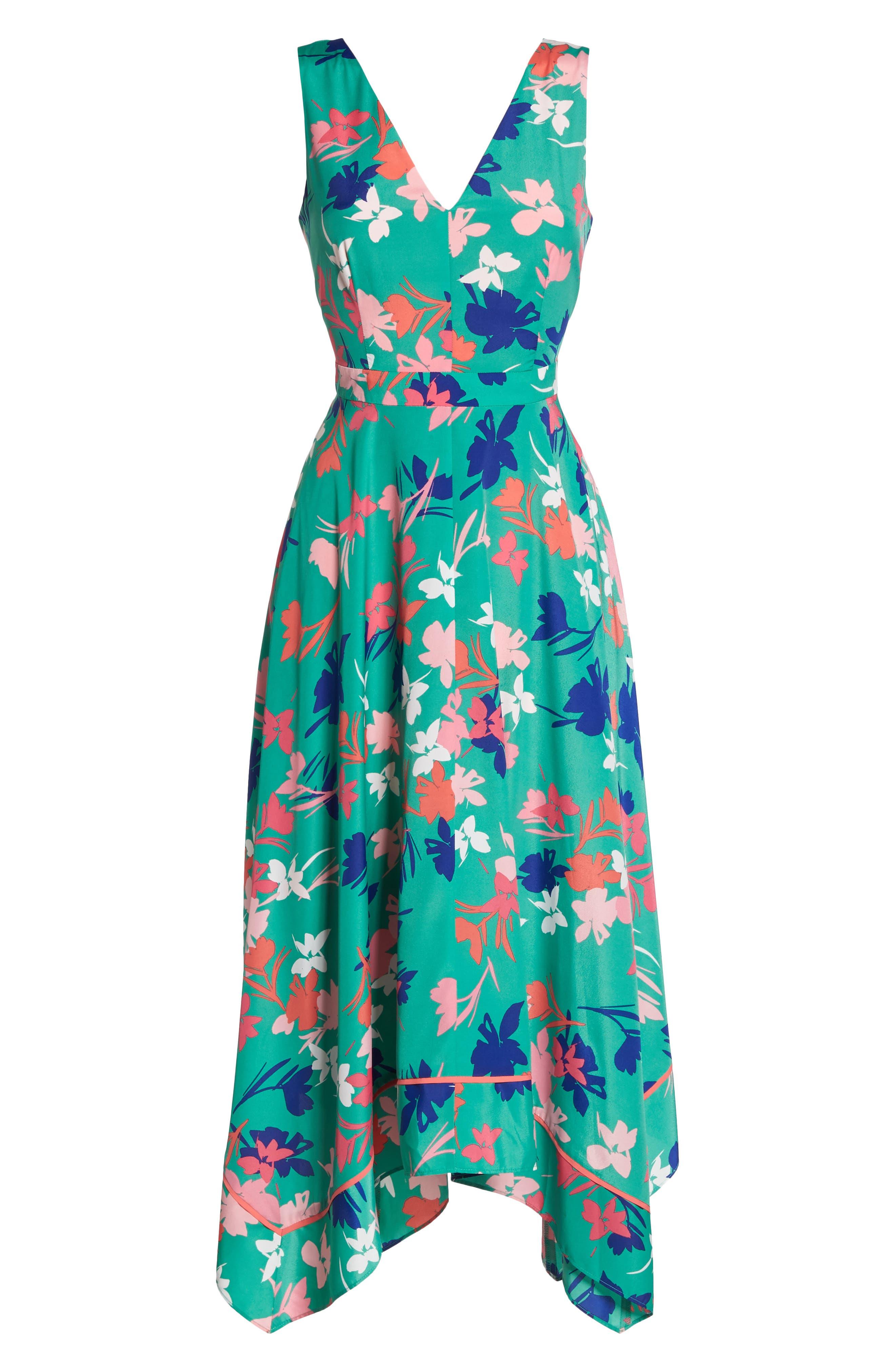 Floral Asymmetric Hem Midi Dress,                             Alternate thumbnail 7, color,                             Green