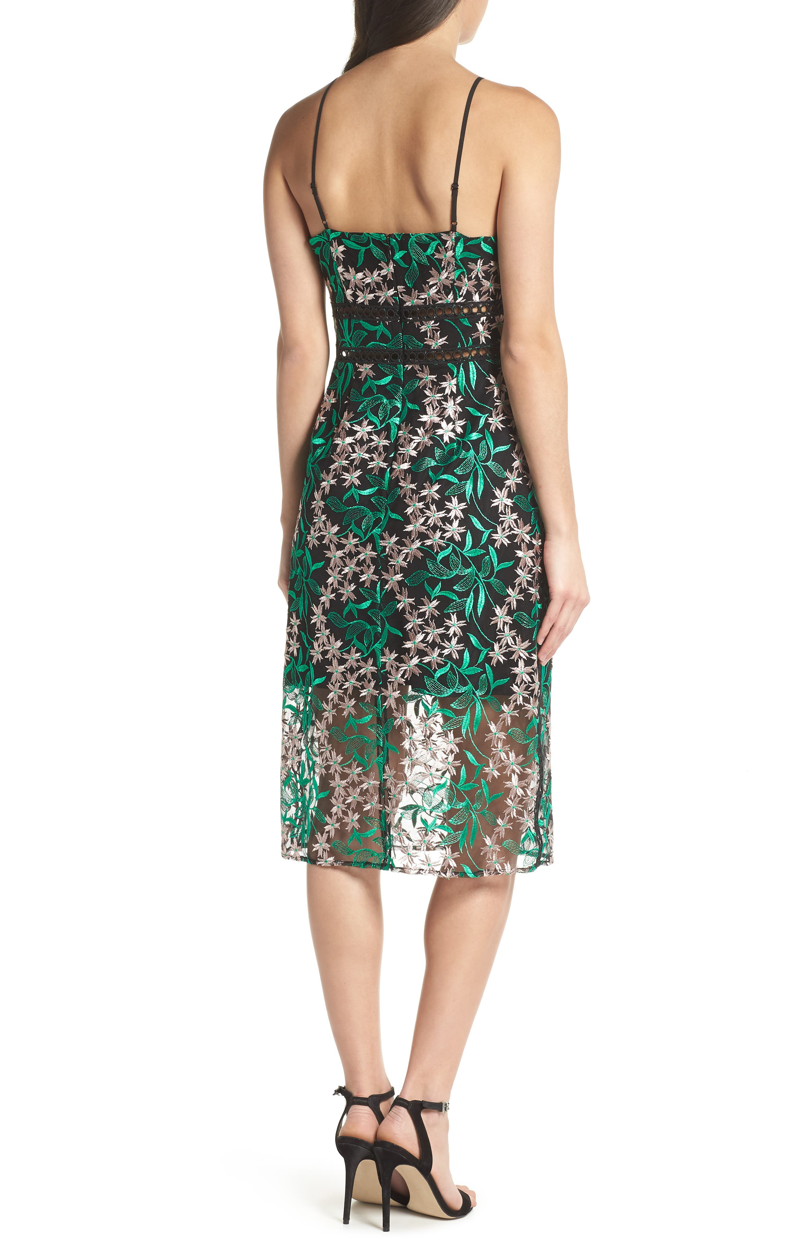 Embroidered Lace Pencil Dress,                             Alternate thumbnail 2, color,                             Pink/ Green