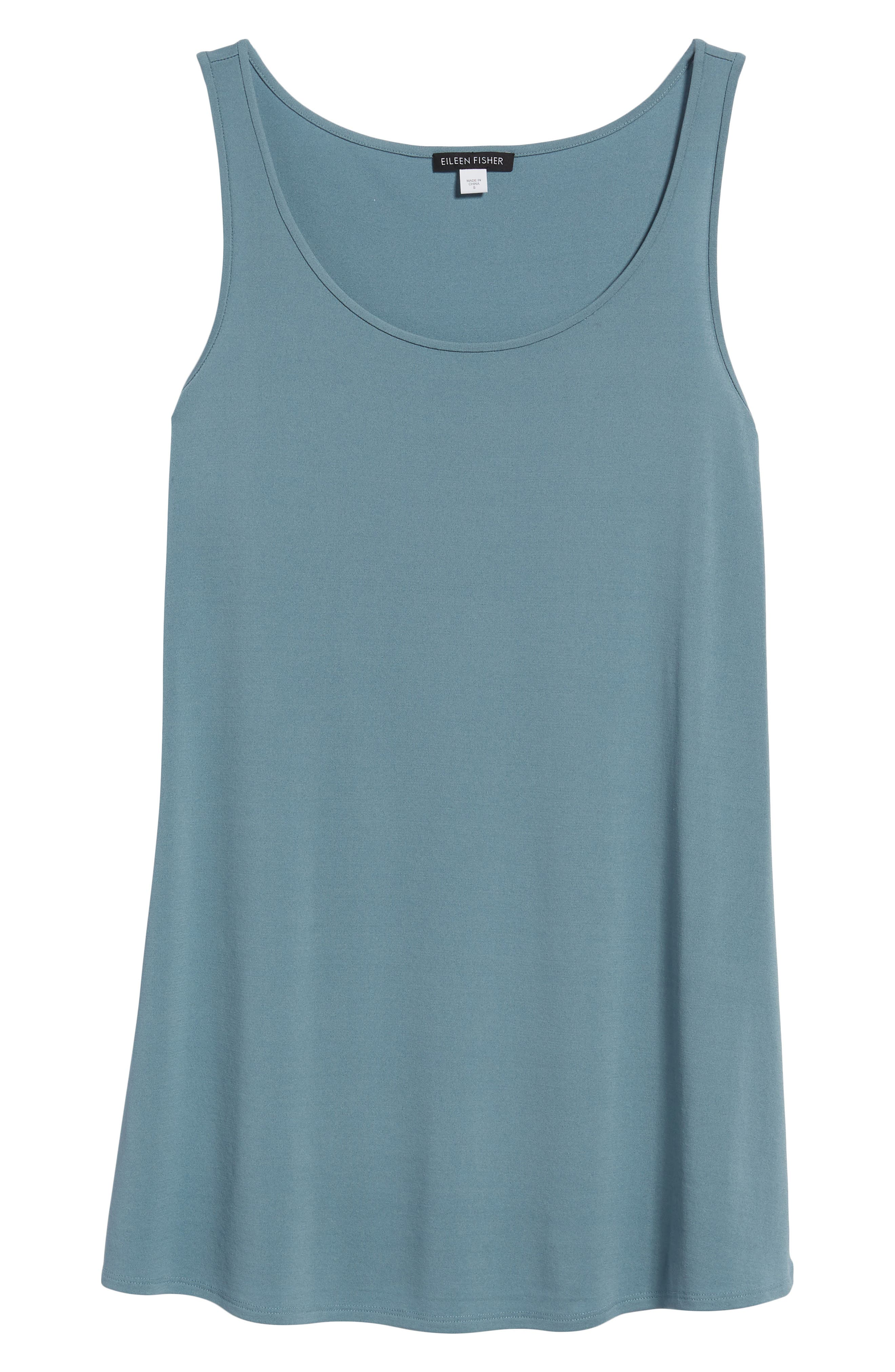 Long Silk Tank,                             Alternate thumbnail 7, color,                             Blue Steel