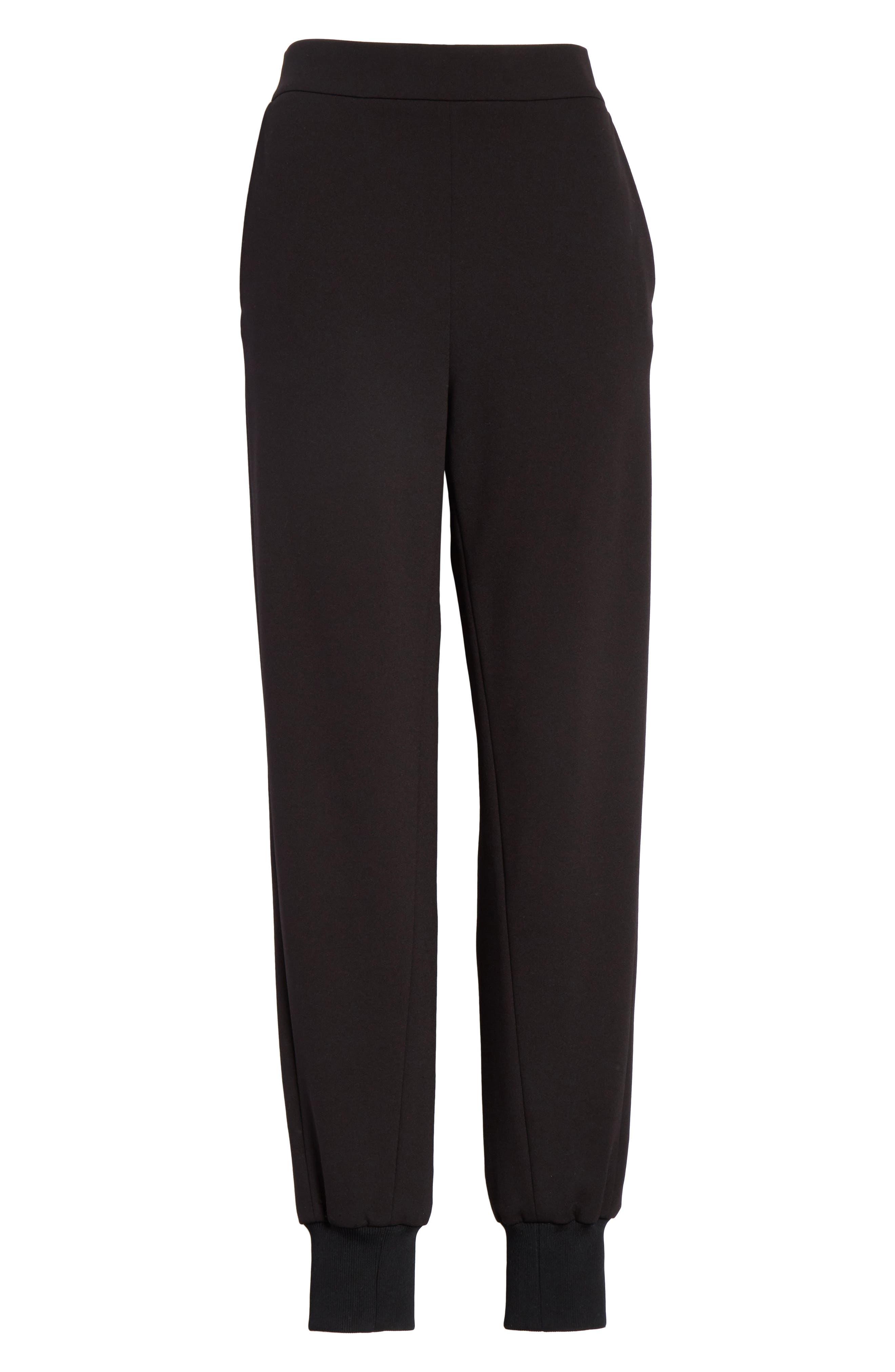 Structured Crepe Jogger Pants,                             Alternate thumbnail 7, color,                             Black