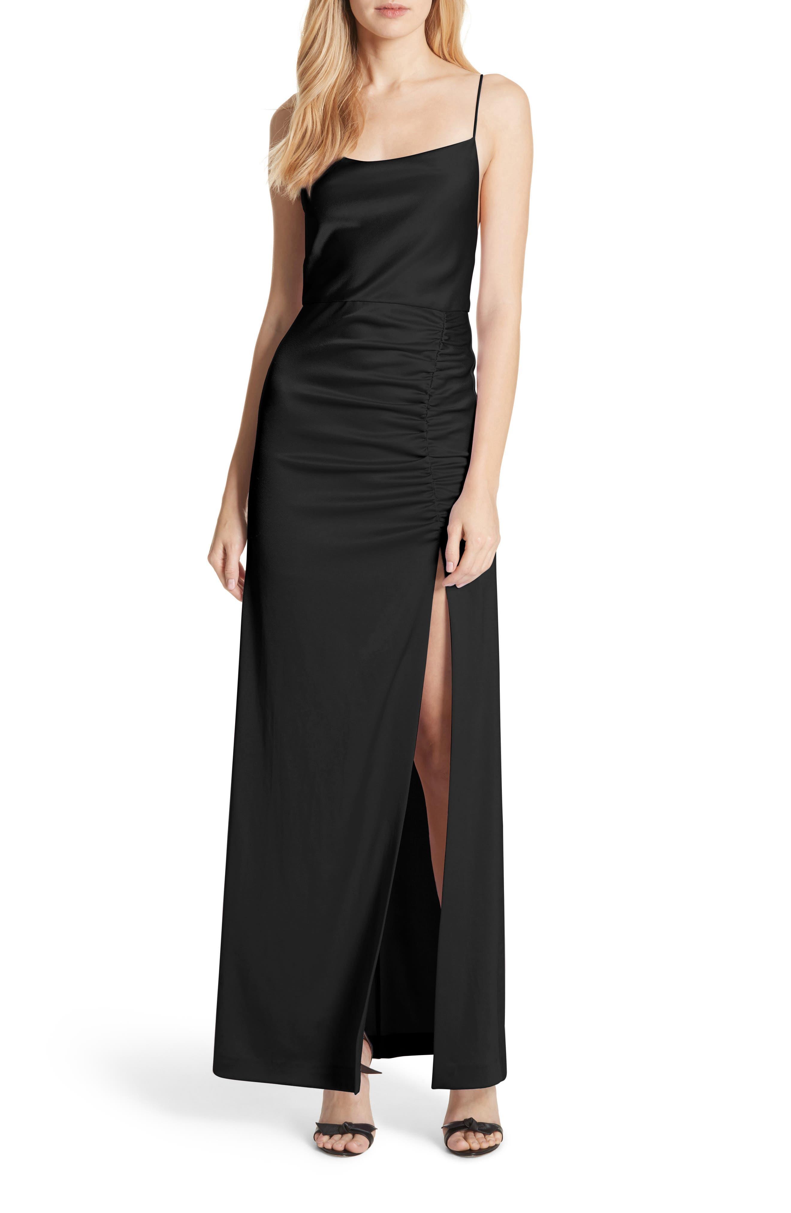 Diana Slit Front Maxi Dress,                             Main thumbnail 1, color,                             Black