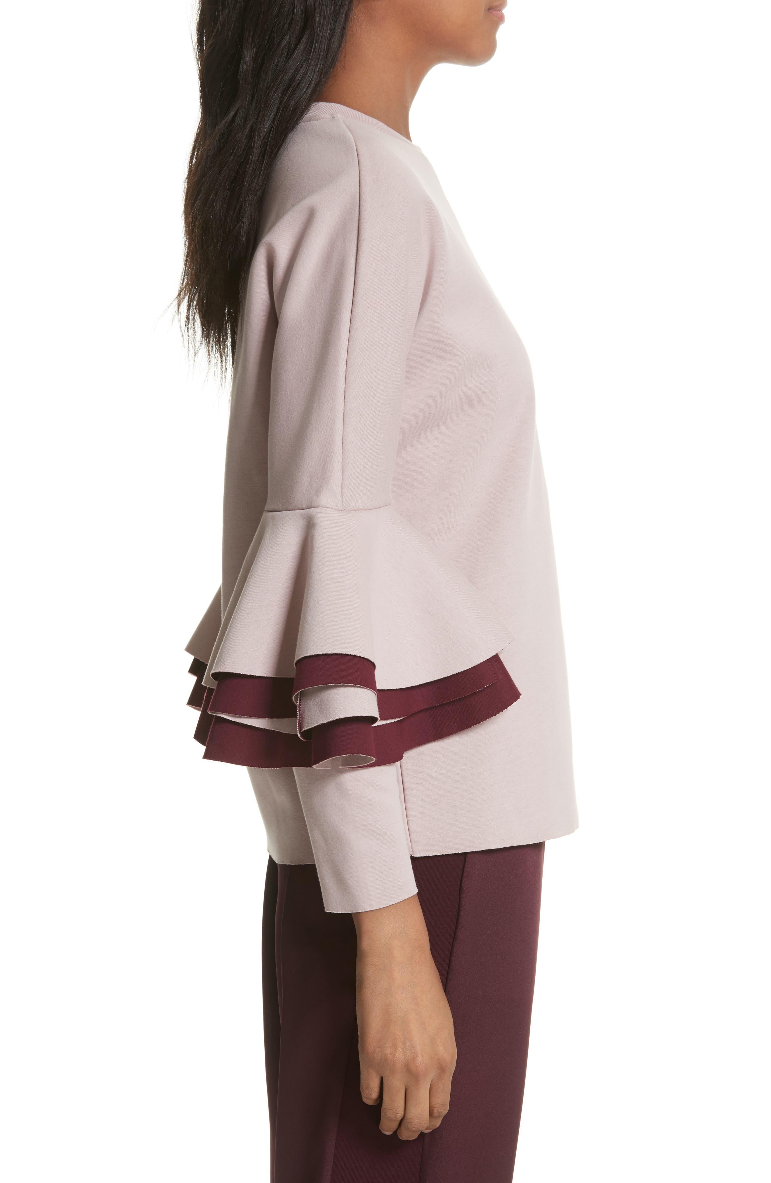 Frill Sleeve Sweatshirt,                             Alternate thumbnail 3, color,                             Dusky Pink