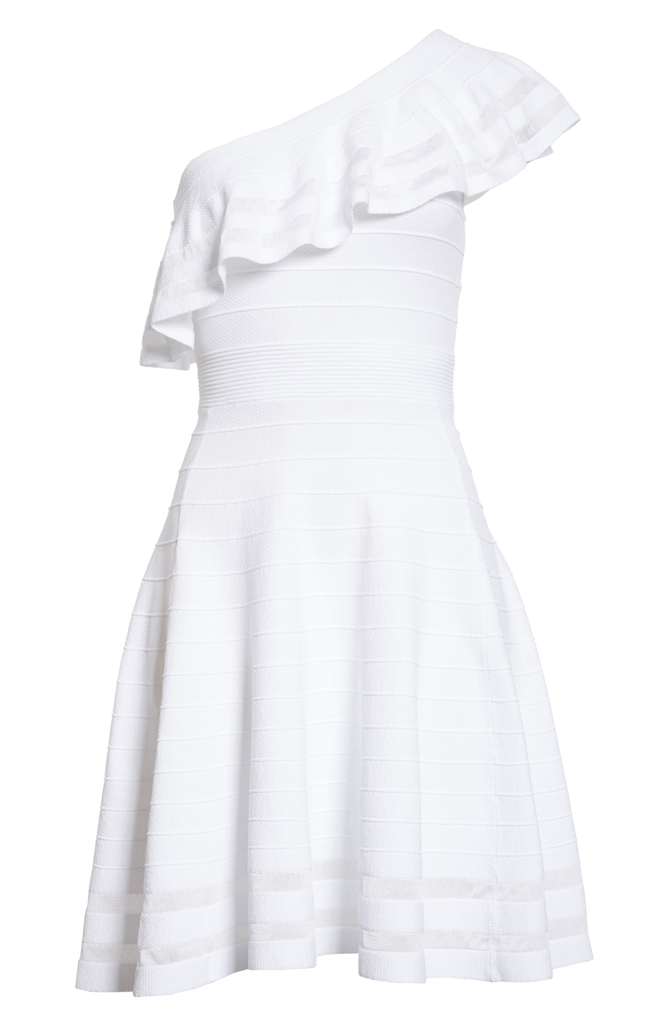 Streena Knit Skater Dress,                             Alternate thumbnail 6, color,                             White
