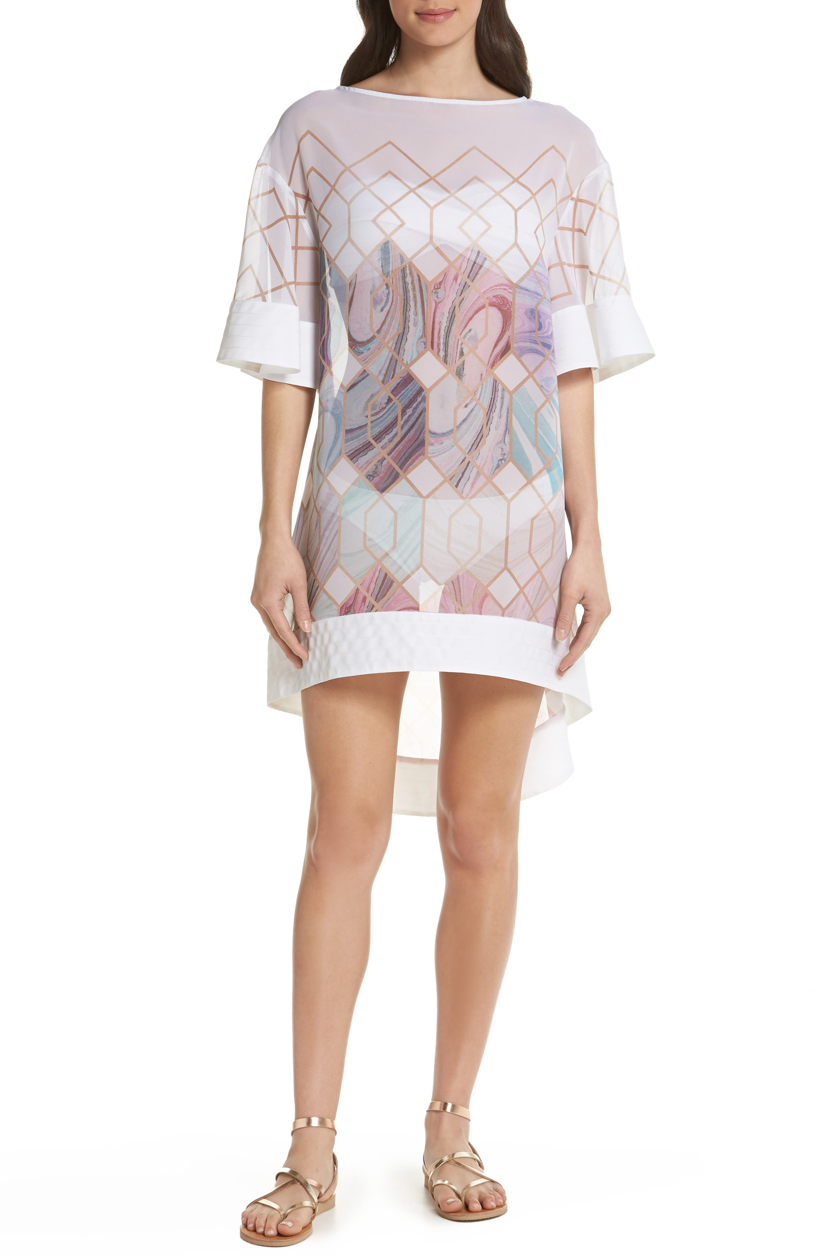 Sea of Clouds Cover-Up Tunic,                             Main thumbnail 1, color,                             White