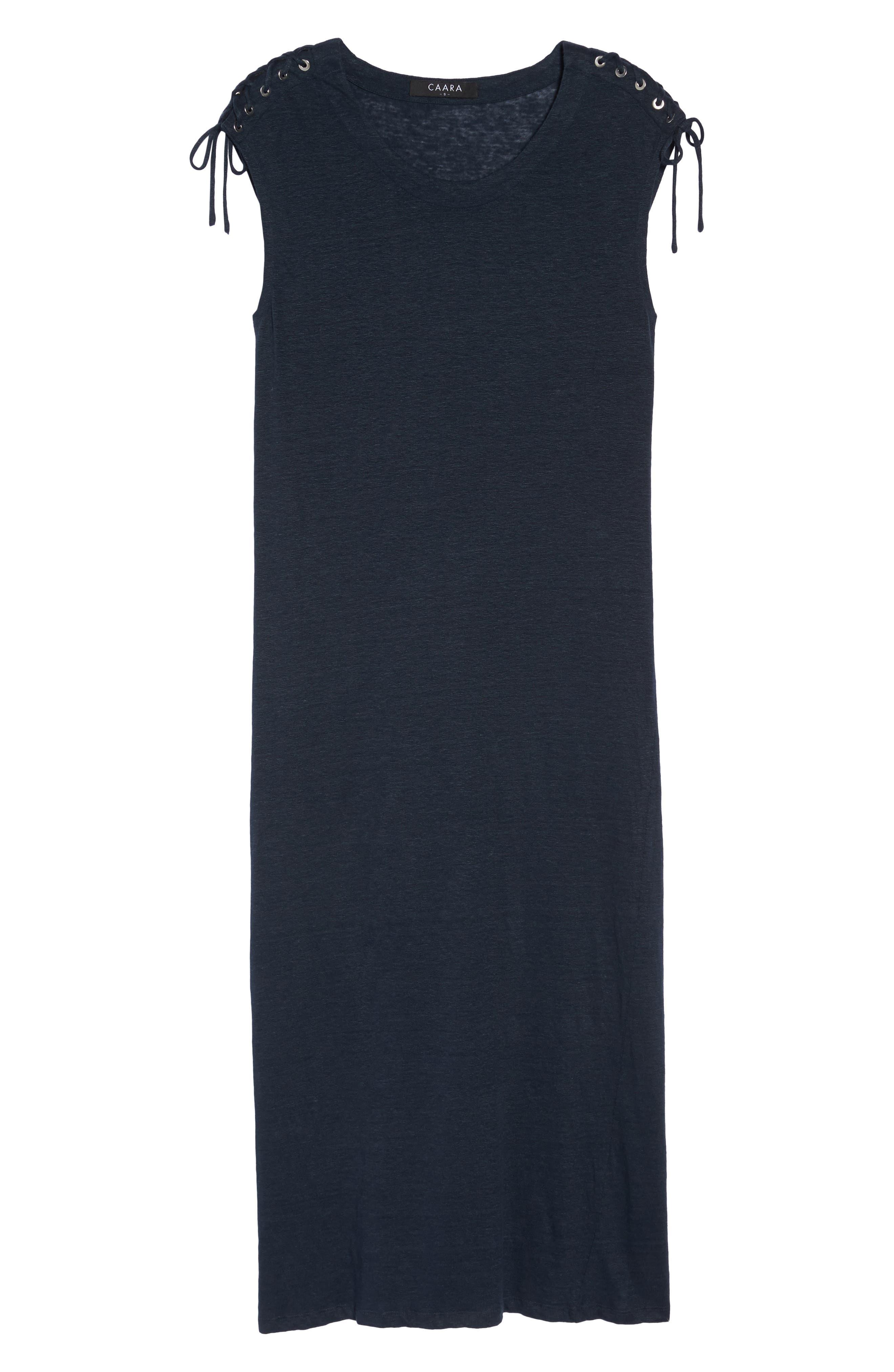 Lace-up Shoulder Jersey Midi Dress,                             Alternate thumbnail 7, color,                             Navy