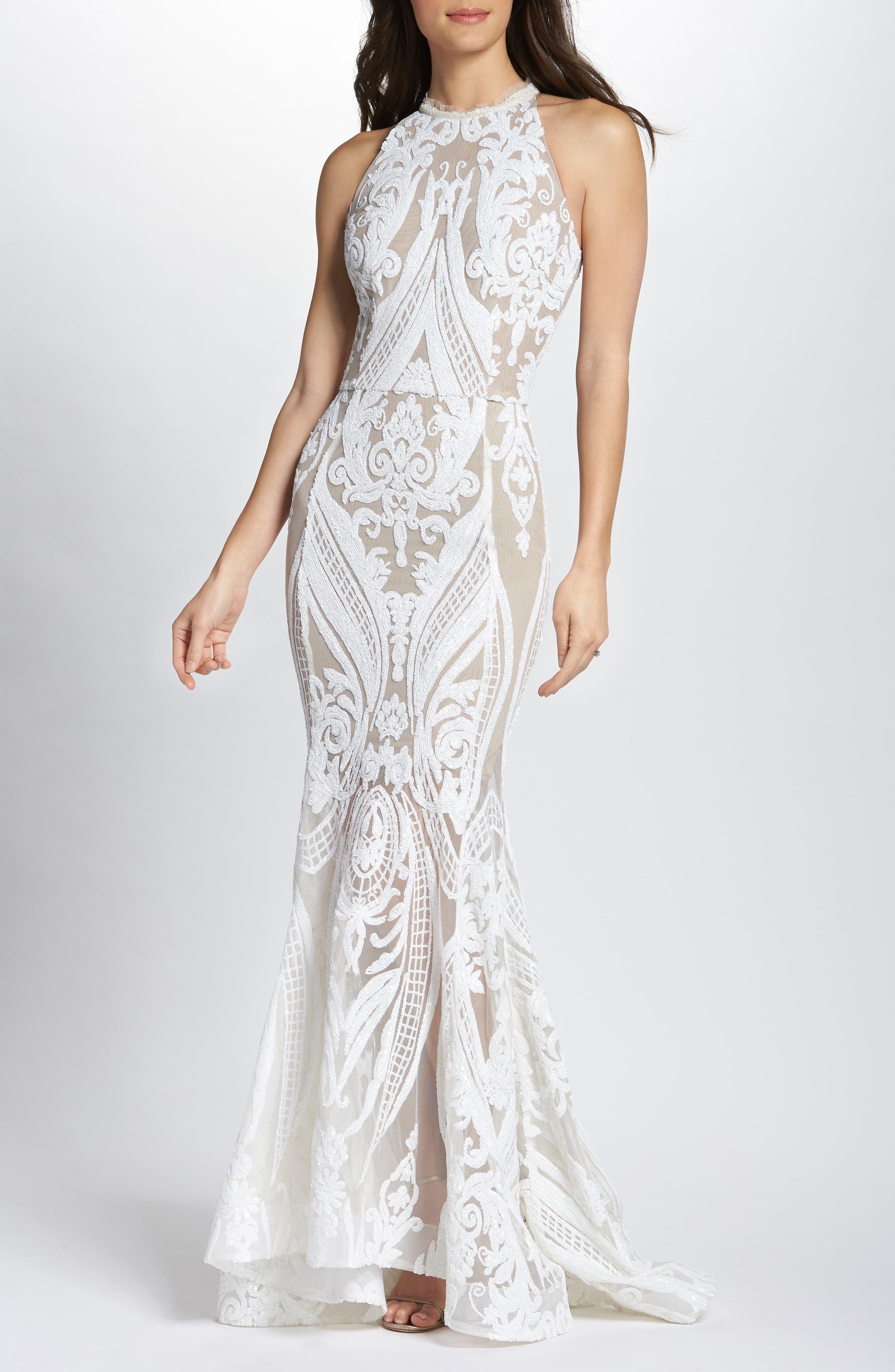 Ester Halter Mermaid Gown,                         Main,                         color, White