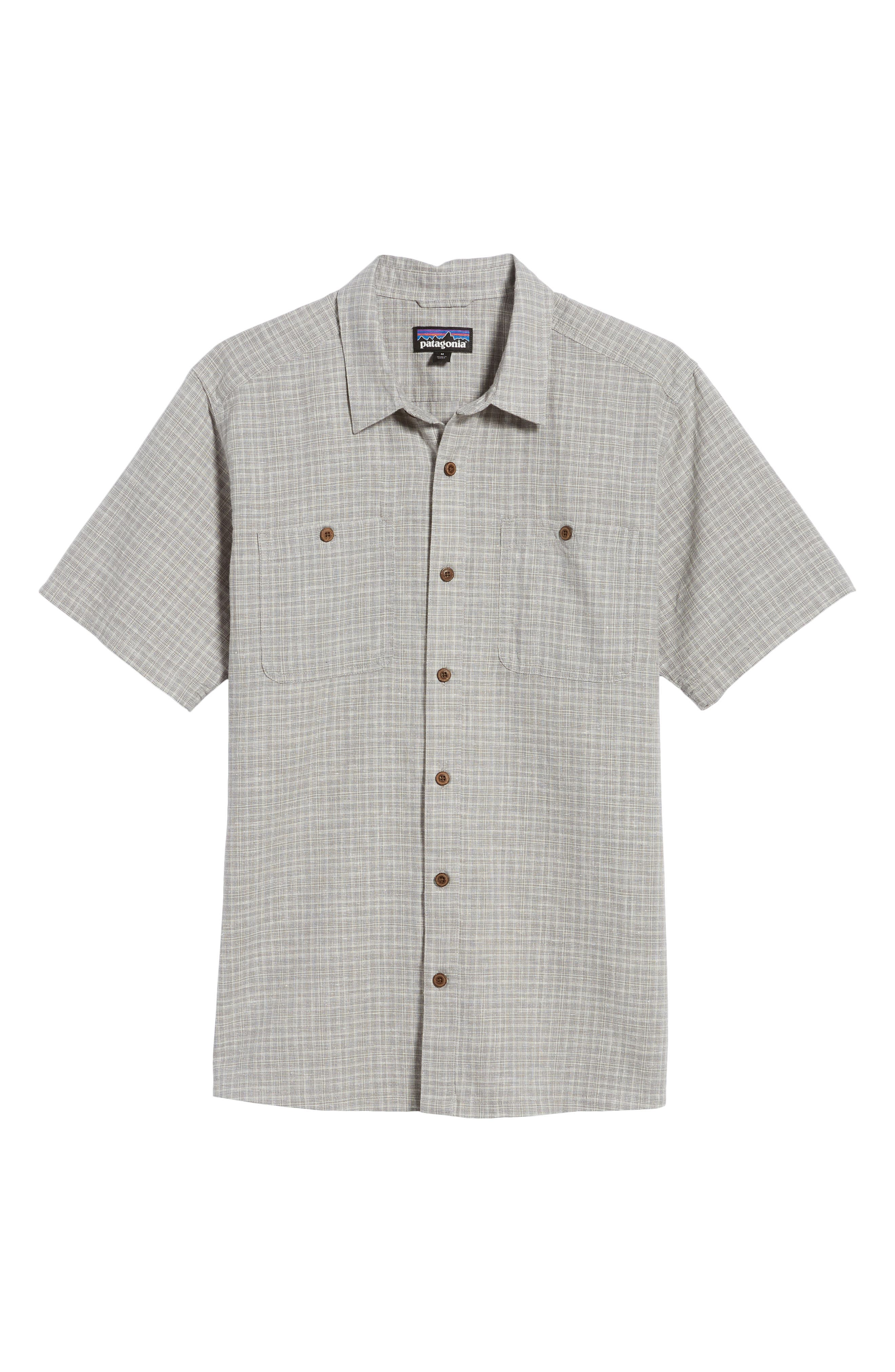'Back Step' Regular Fit Check Short Sleeve Sport Shirt,                             Alternate thumbnail 6, color,                             Tino/ Feather Grey