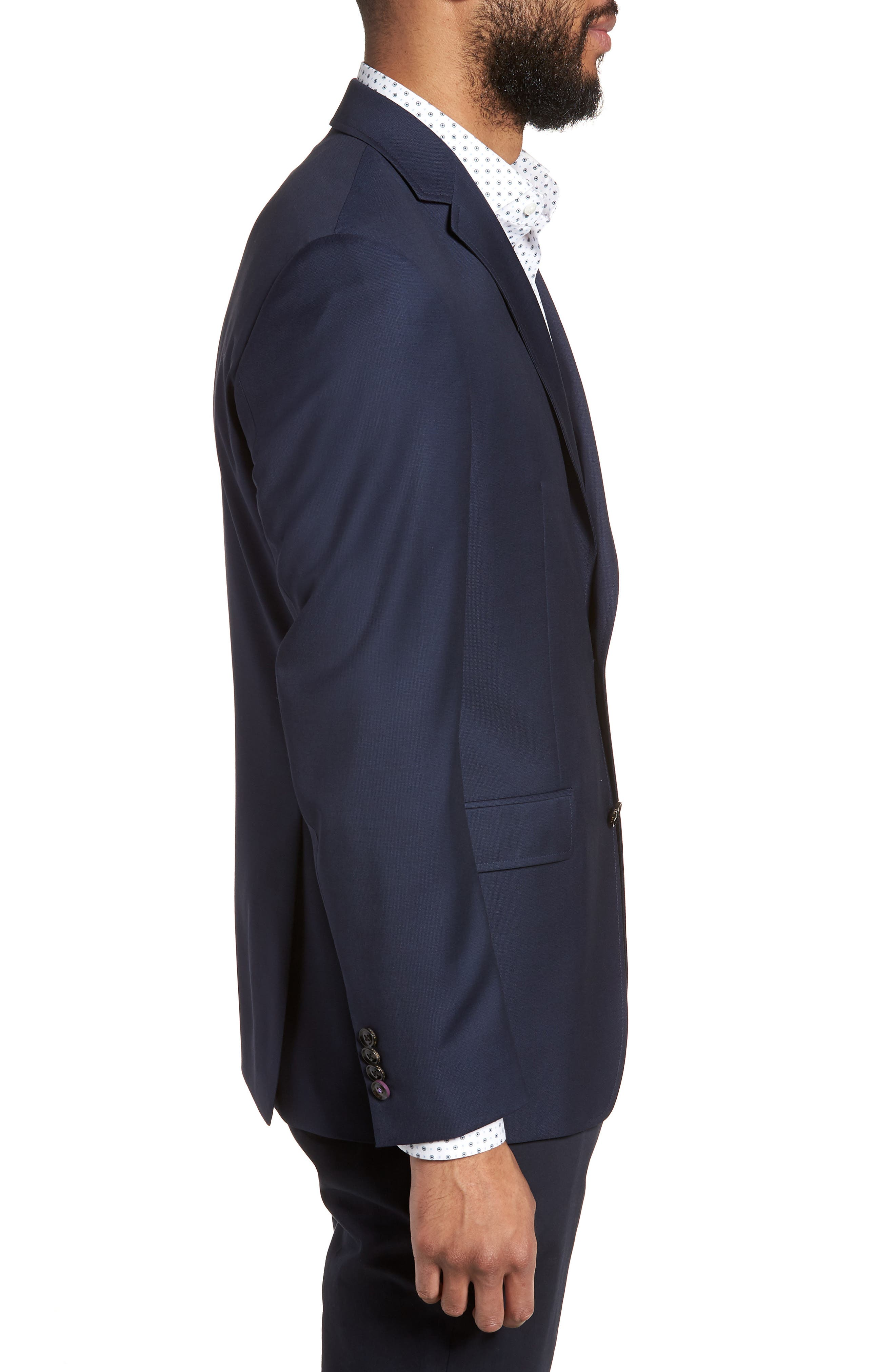 Trevi Trim Fit Wool Blazer,                             Alternate thumbnail 3, color,                             Navy