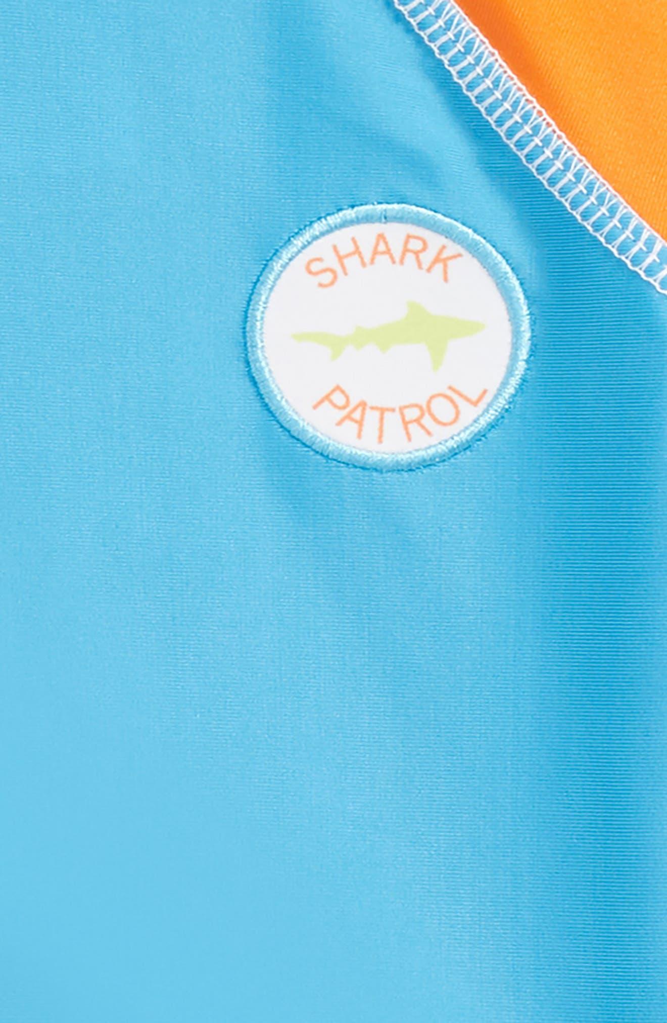 Shark Illusion Two-Piece Rashguard Swimsuit,                             Alternate thumbnail 2, color,                             Blue Multi
