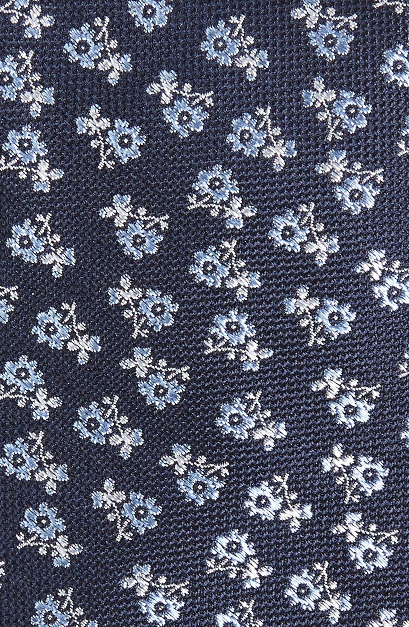 Nadaleen Floral Silk Tie,                             Alternate thumbnail 2, color,                             Navy