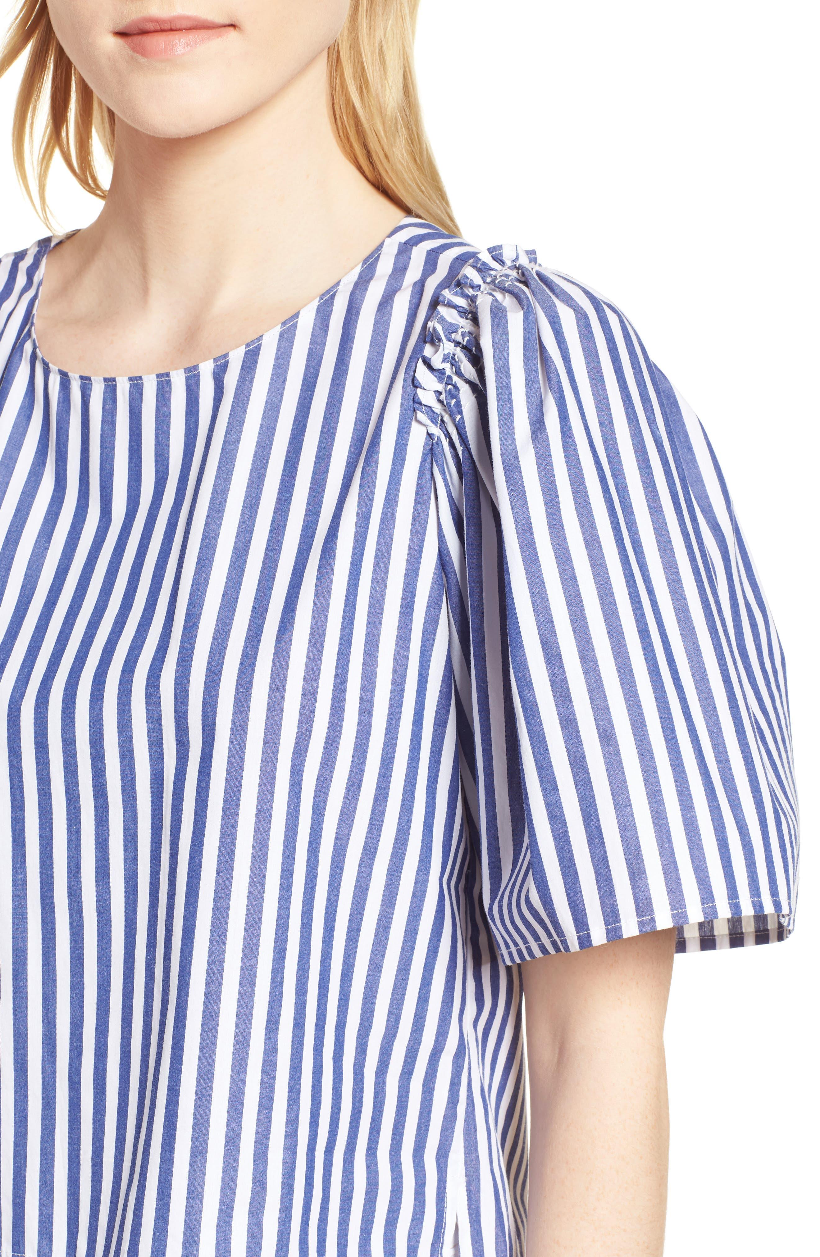 Valeria Stripe Stretch Cotton Top,                             Alternate thumbnail 4, color,                             Blue/ White