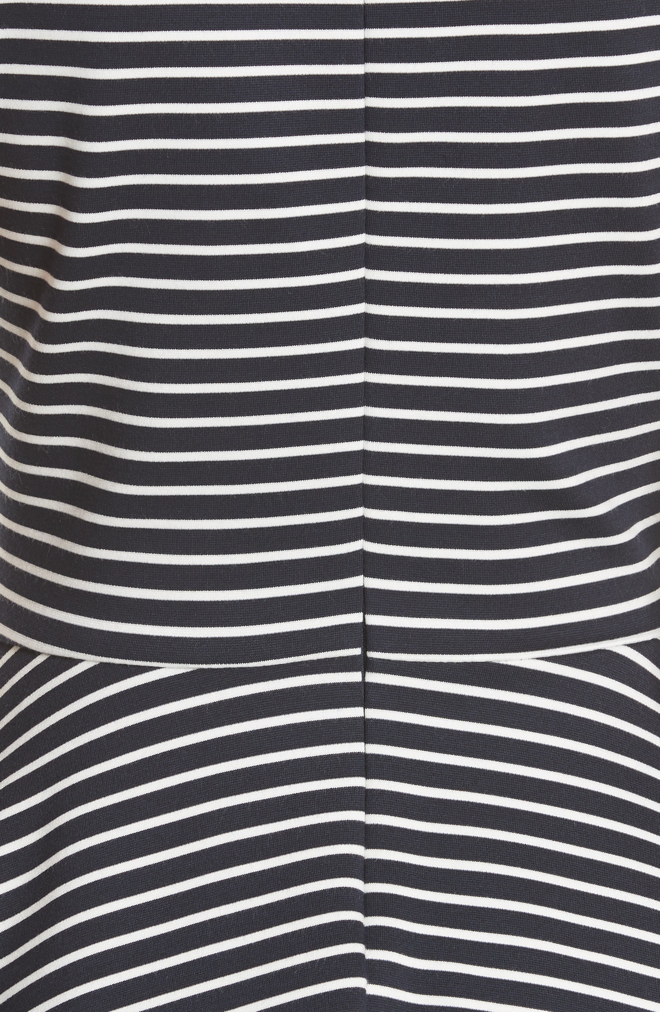stripe ponte fit & flare dress,                             Alternate thumbnail 5, color,                             Rich Navy/ Off White