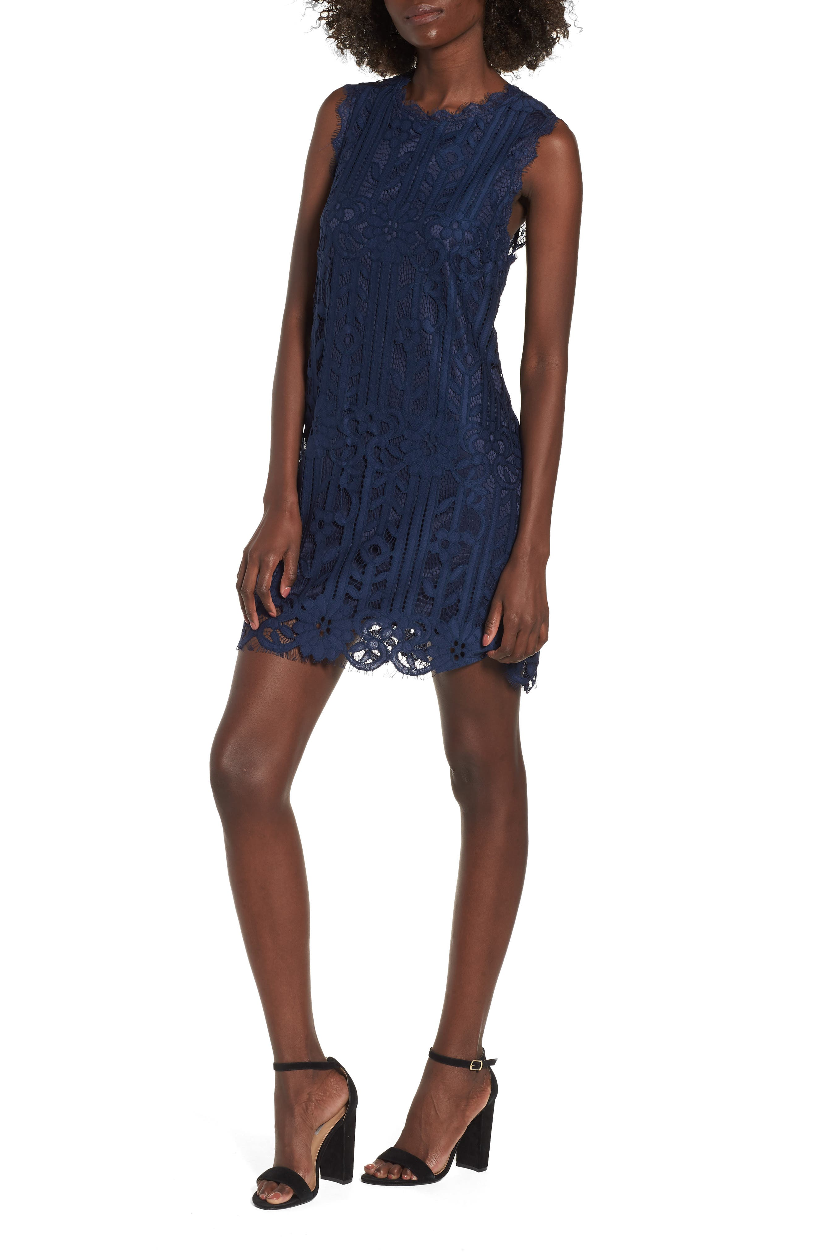 Lace Shift Dress,                         Main,                         color, Midnight