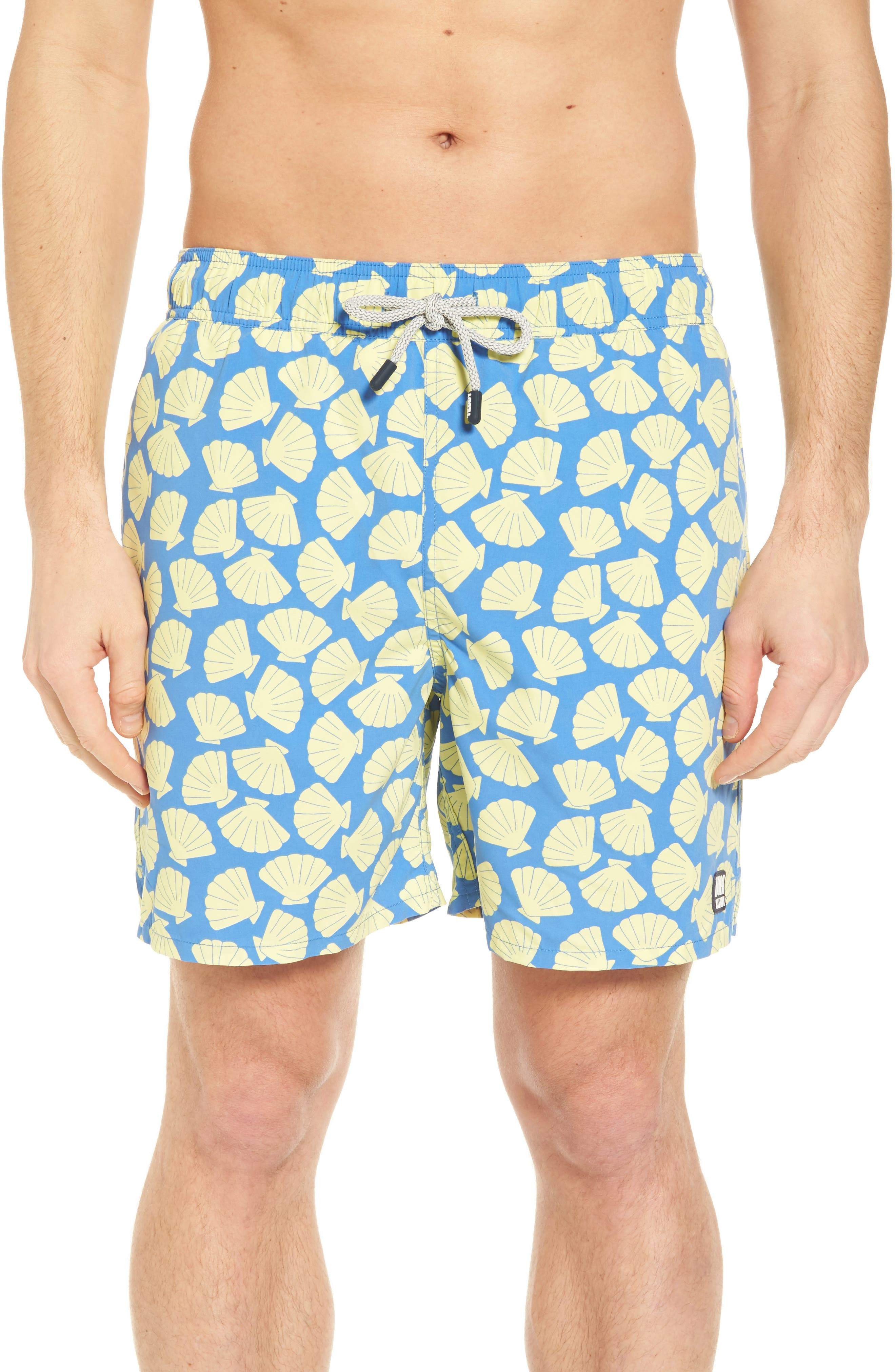 Shell Print Swim Trunks,                         Main,                         color, Yellow