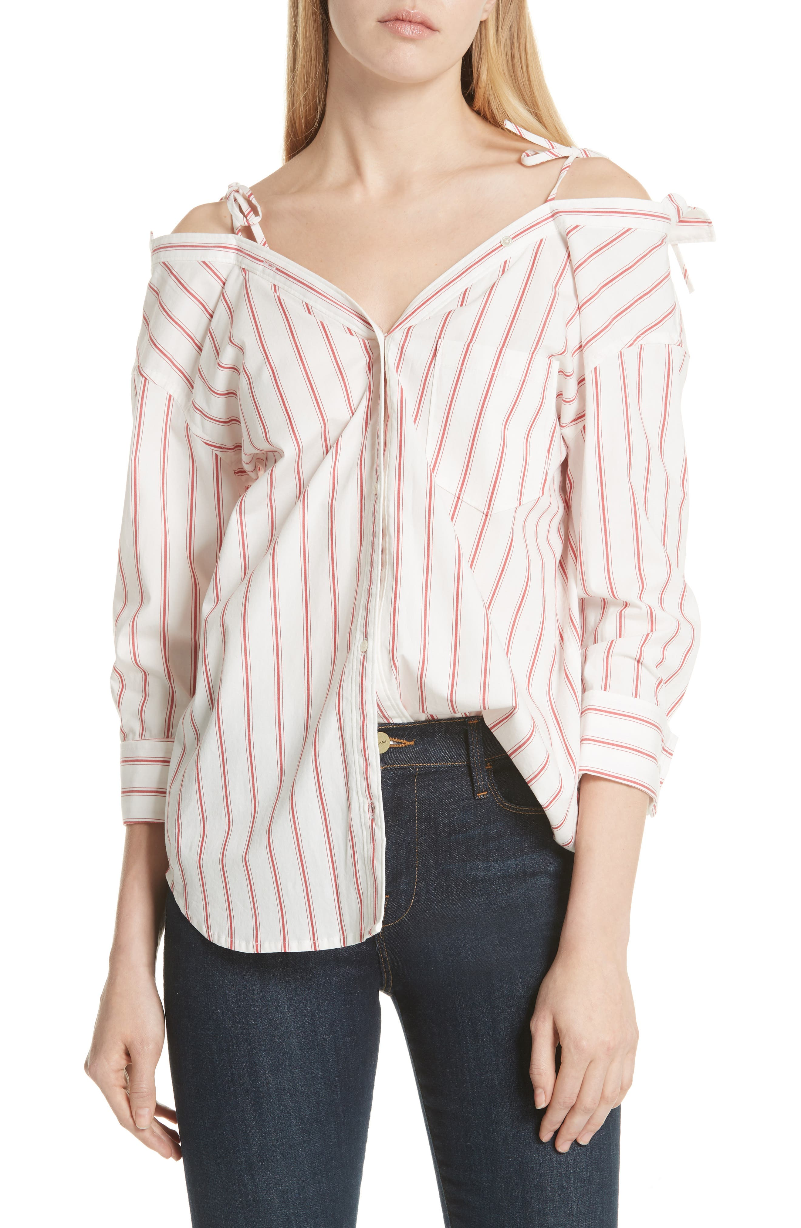 Alvina Tie Front Stripe Shirt,                         Main,                         color, Matador Red