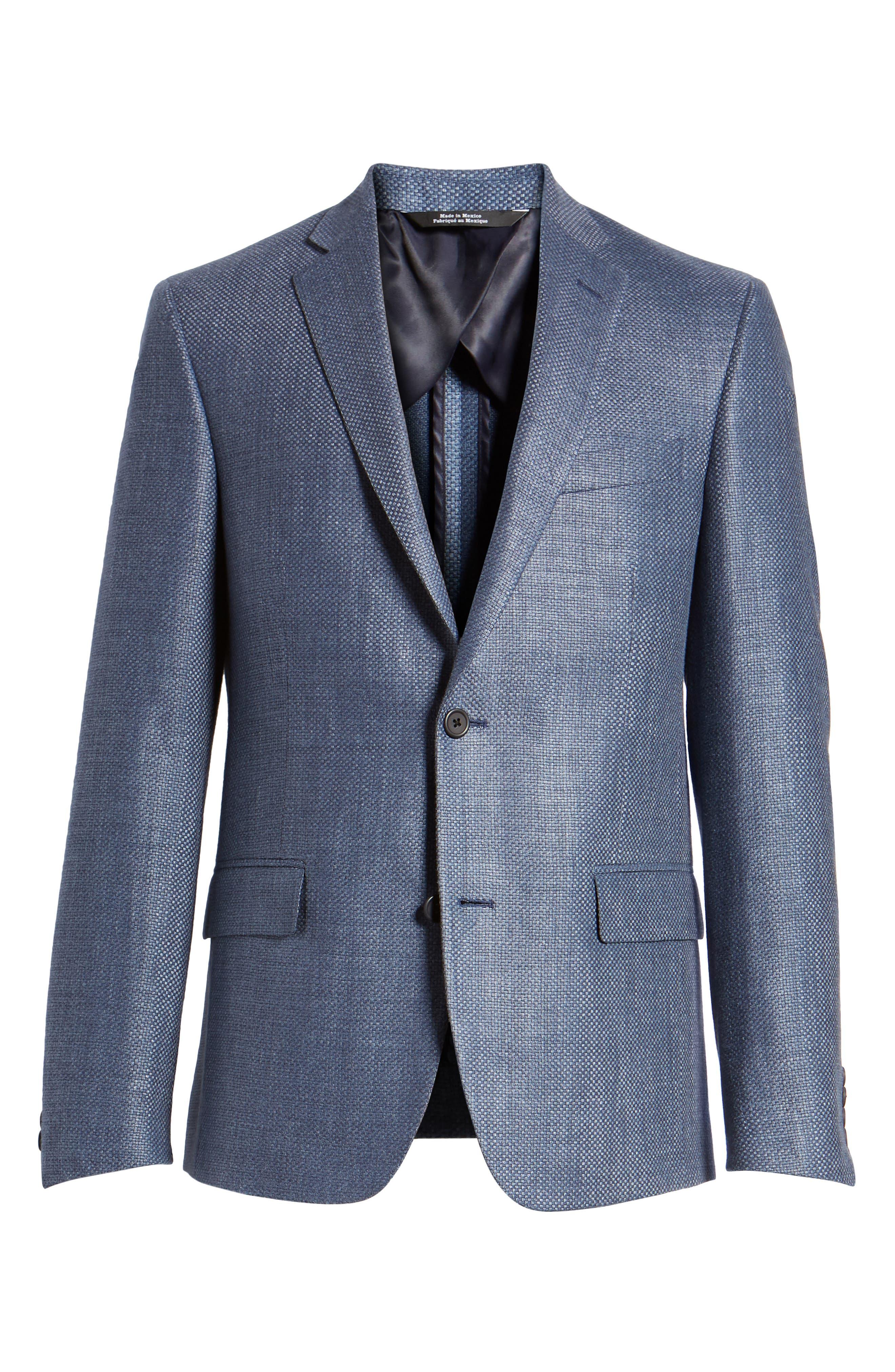 Trim Fit Wool & Linen Blazer,                             Alternate thumbnail 6, color,                             Blue
