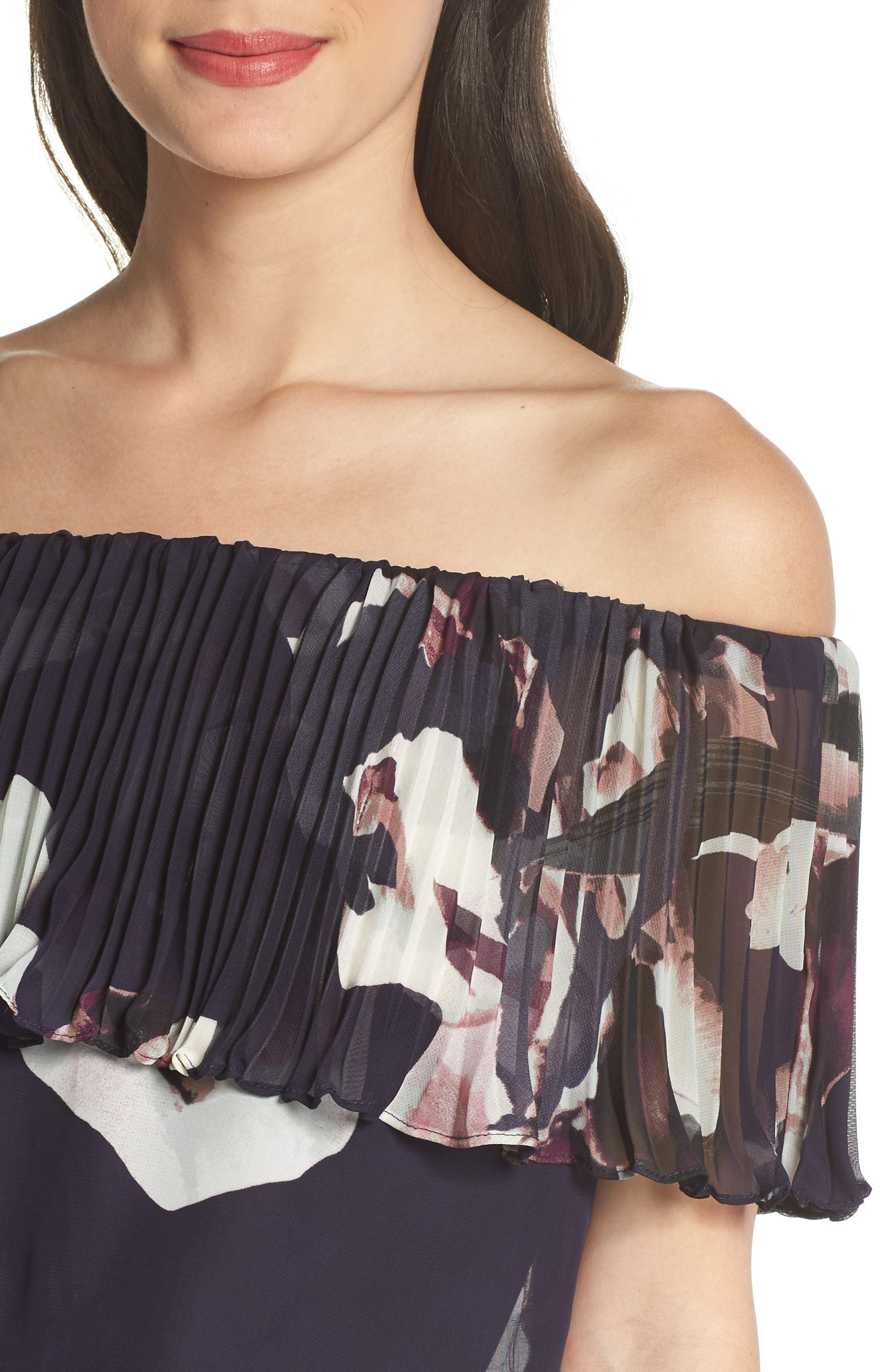 Off the Shoulder Ruffle Gown,                             Alternate thumbnail 4, color,                             Navy/ Pink