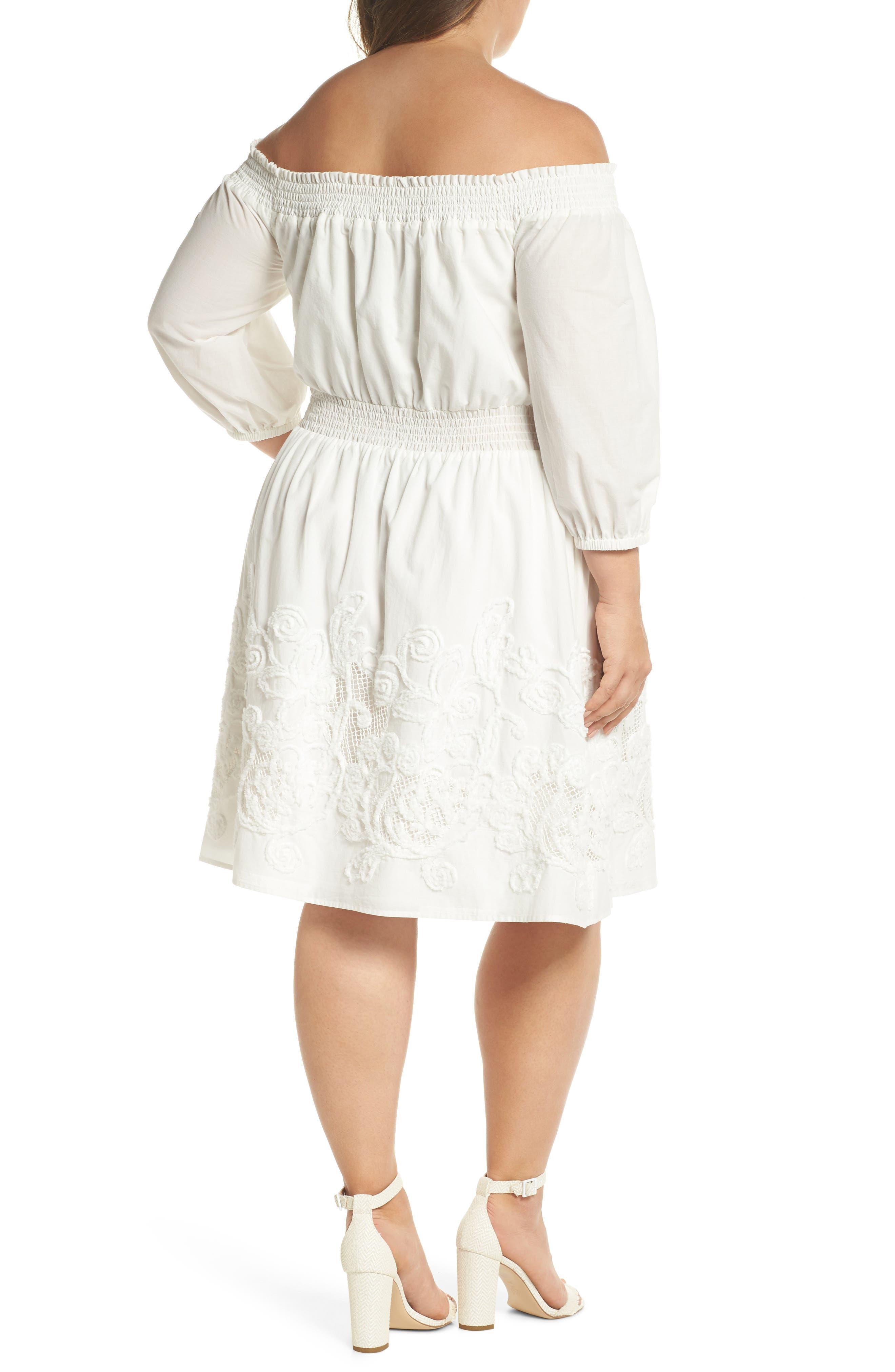 Off the Shoulder Peasant Dress,                             Alternate thumbnail 2, color,                             White Snow