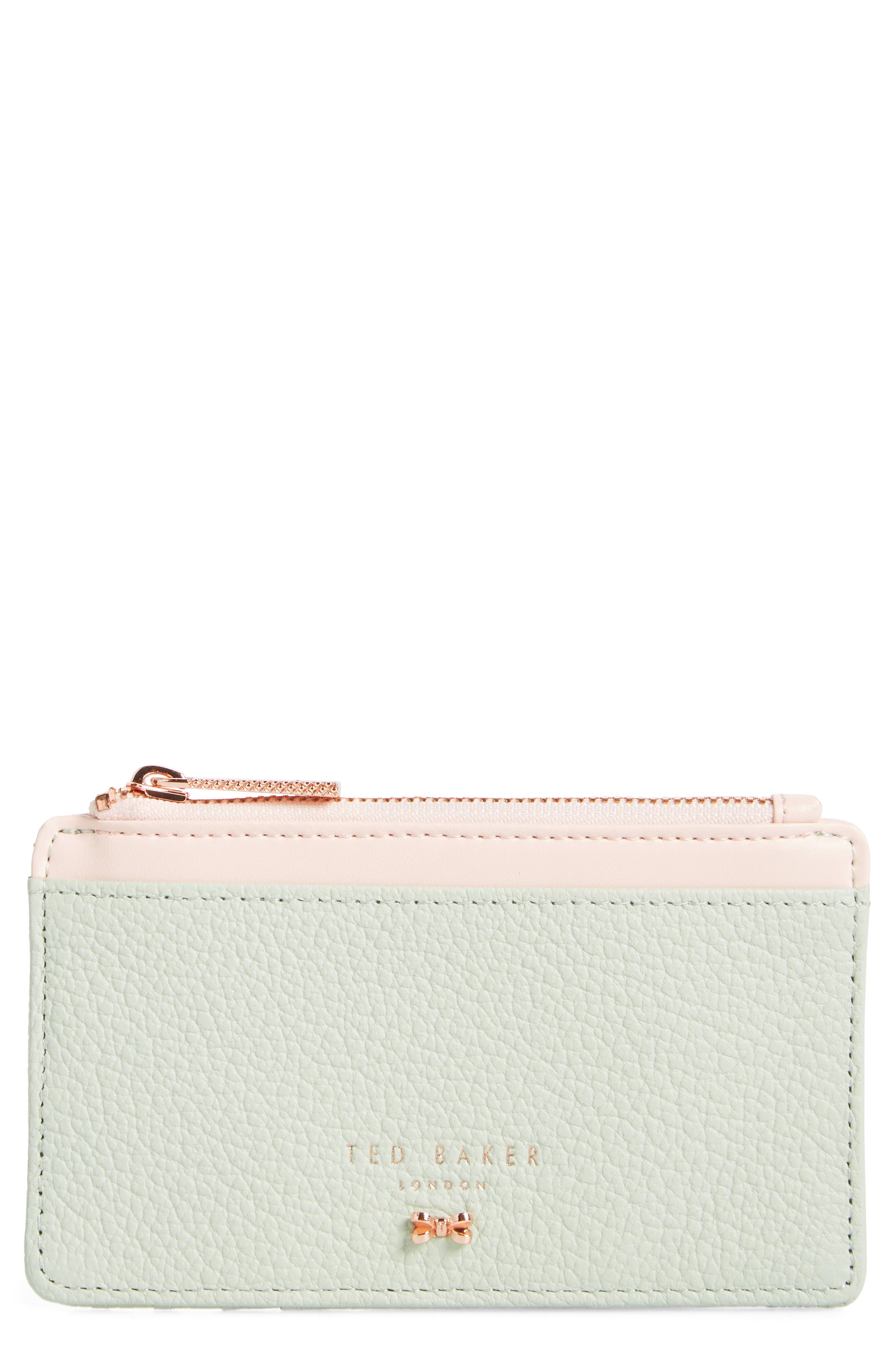 Alica Top Zip Leather Card Case,                             Main thumbnail 1, color,                             Olive