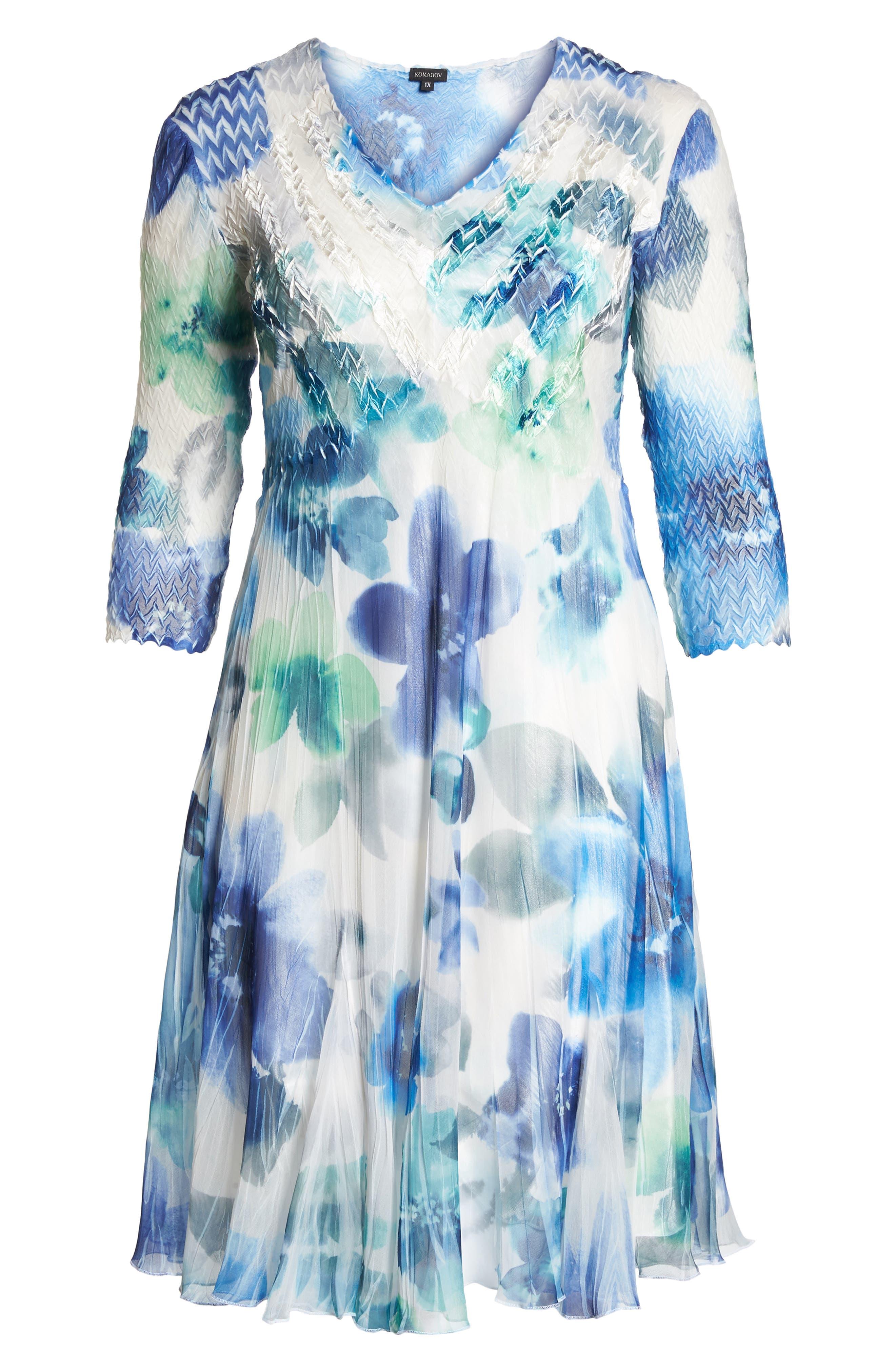 Floral Chiffon A-Line Dress,                             Alternate thumbnail 6, color,                             Azure Meadow
