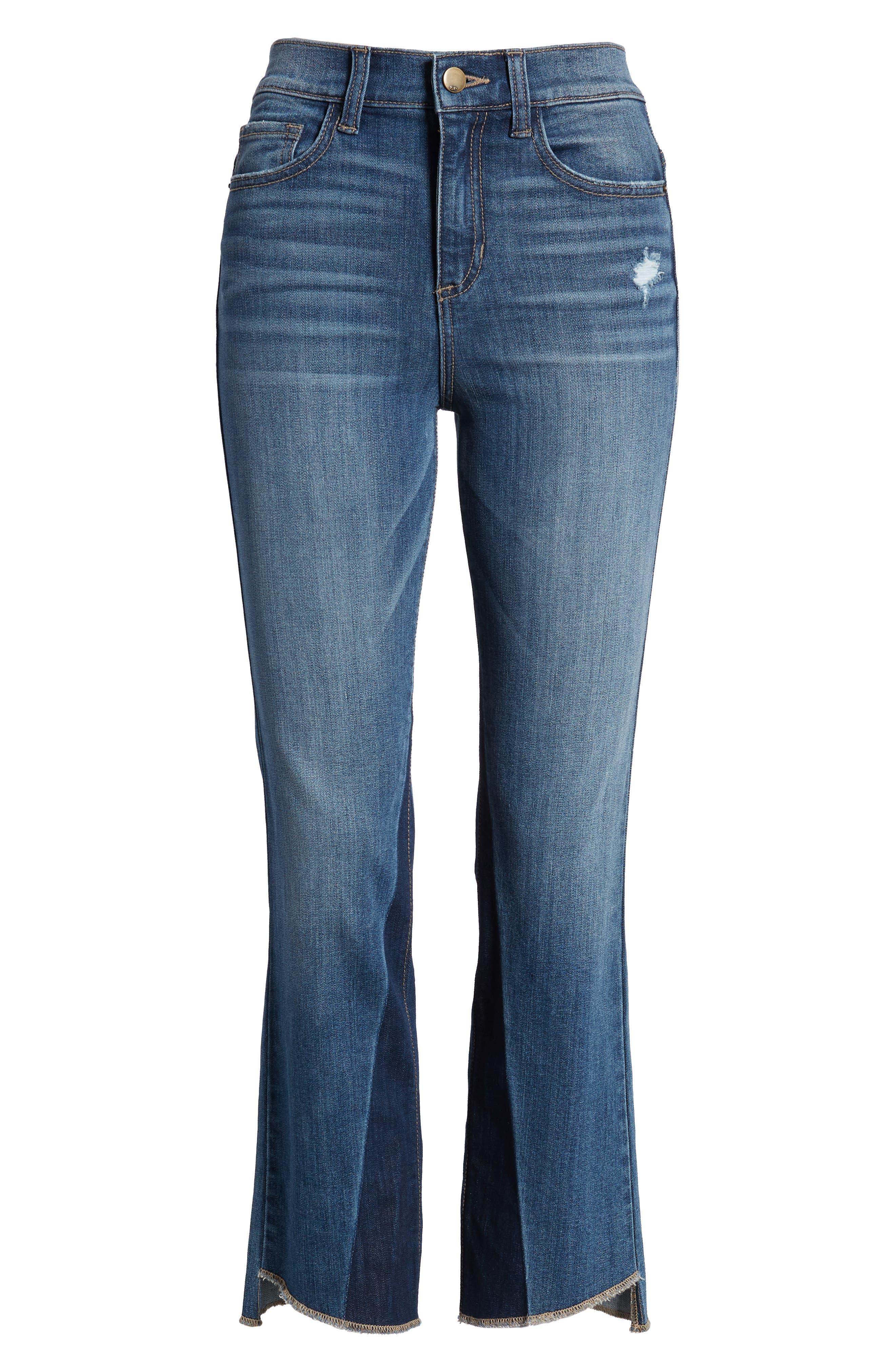 Step Hem Crop Flare Jeans,                             Alternate thumbnail 7, color,                             Med Wash