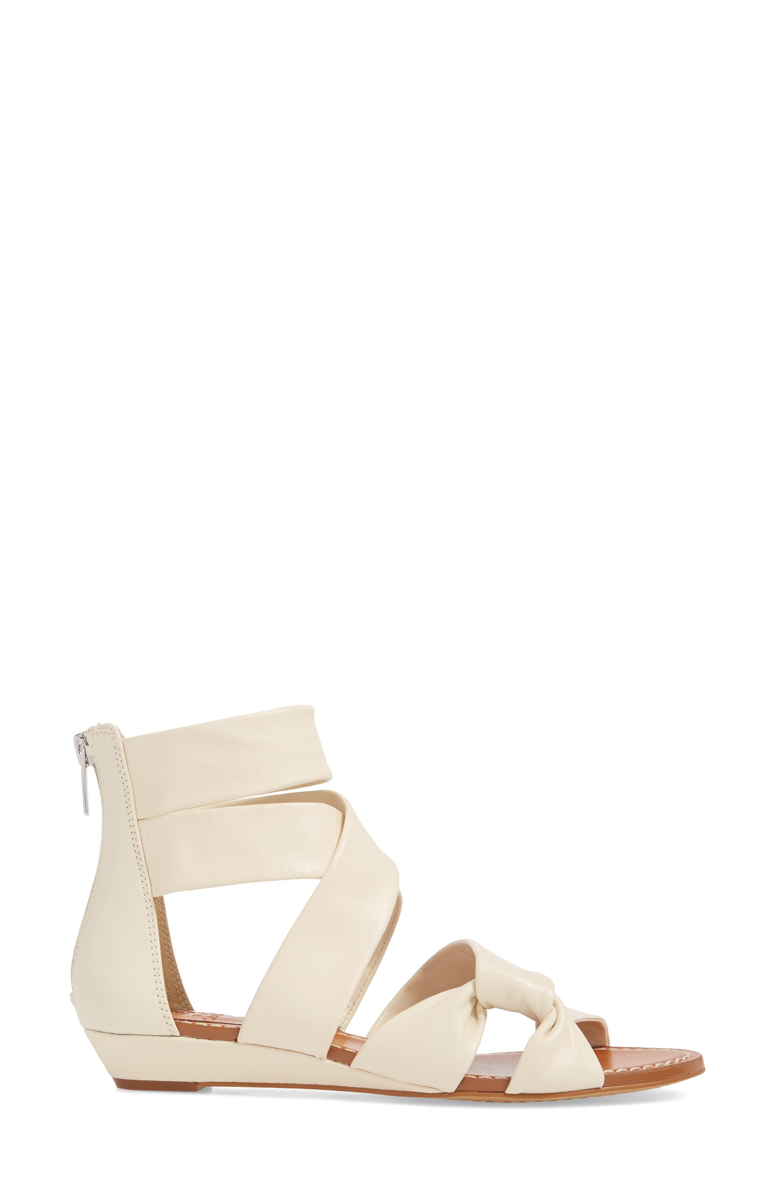 Seevina Low Wedge Sandal,                             Alternate thumbnail 3, color,                             Vanilla Leather