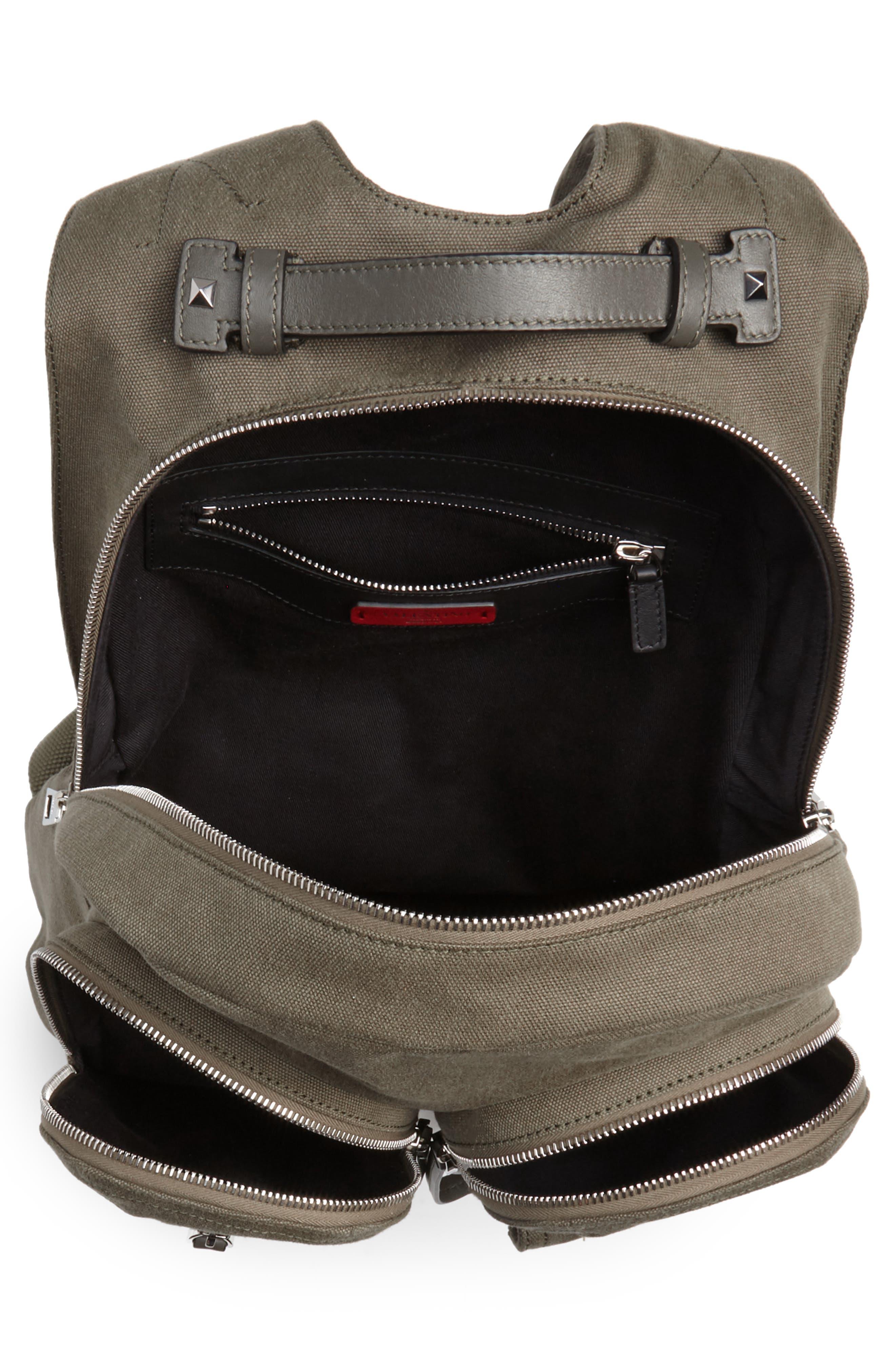 GARAVANI Canvas Military Backpack,                             Alternate thumbnail 4, color,                             L90 Olive