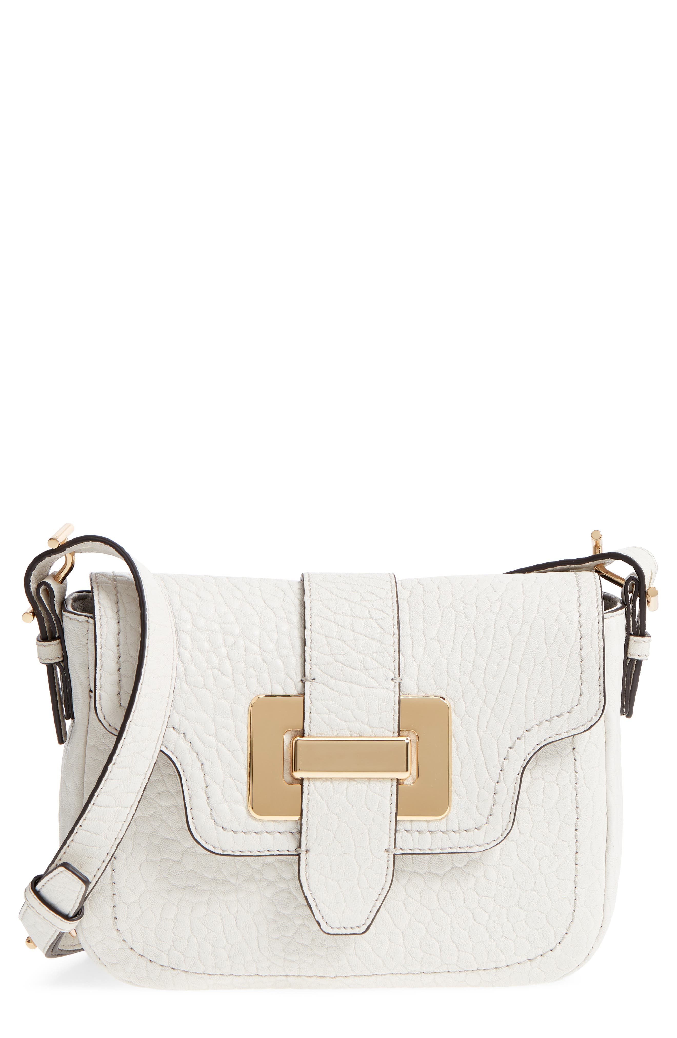 Fava Leather Crossbody Bag,                             Main thumbnail 1, color,                             Vaporous Grey