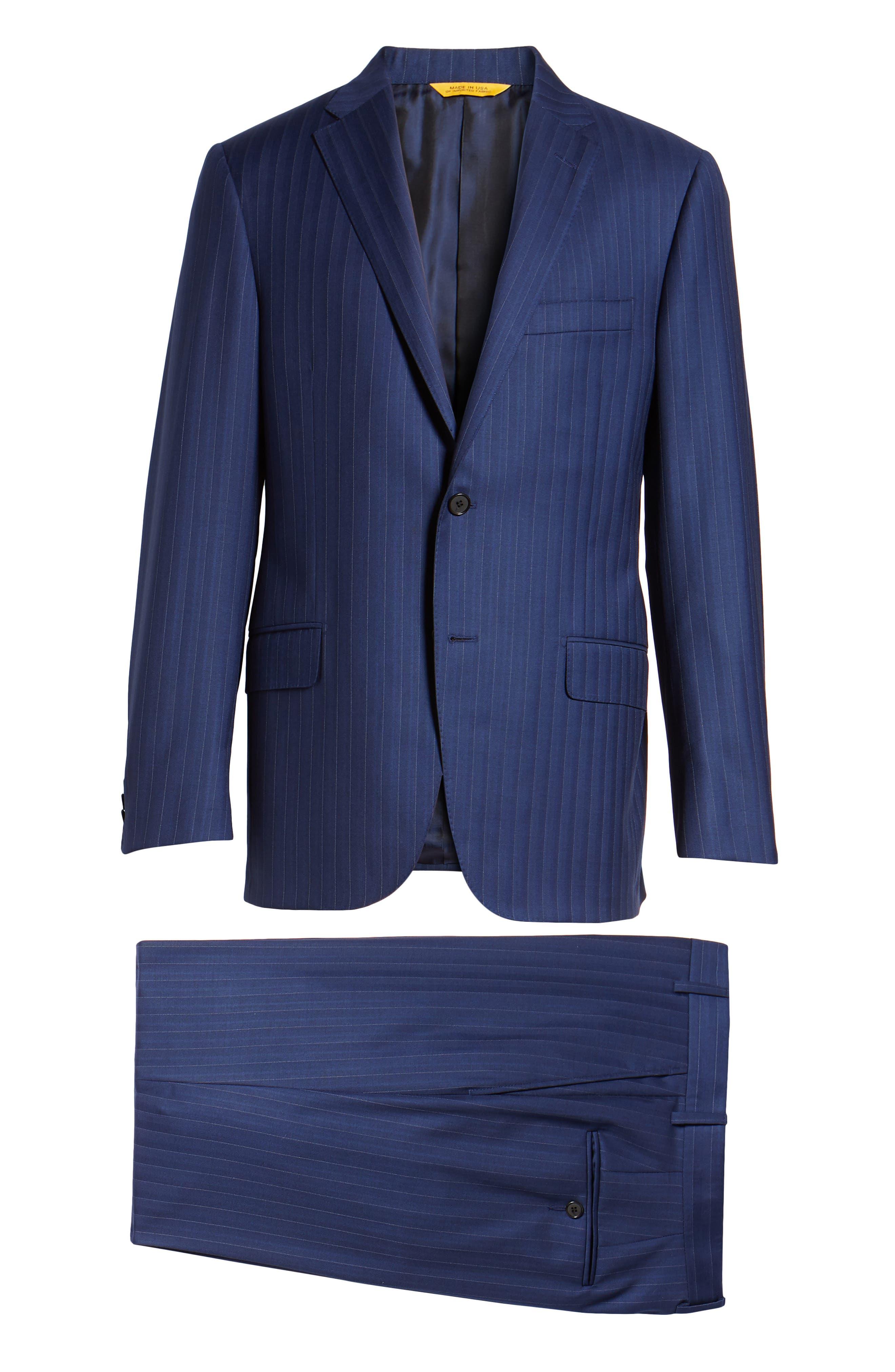 Classic B Fit Stripe Wool Suit,                             Alternate thumbnail 8, color,                             Navy Stripe